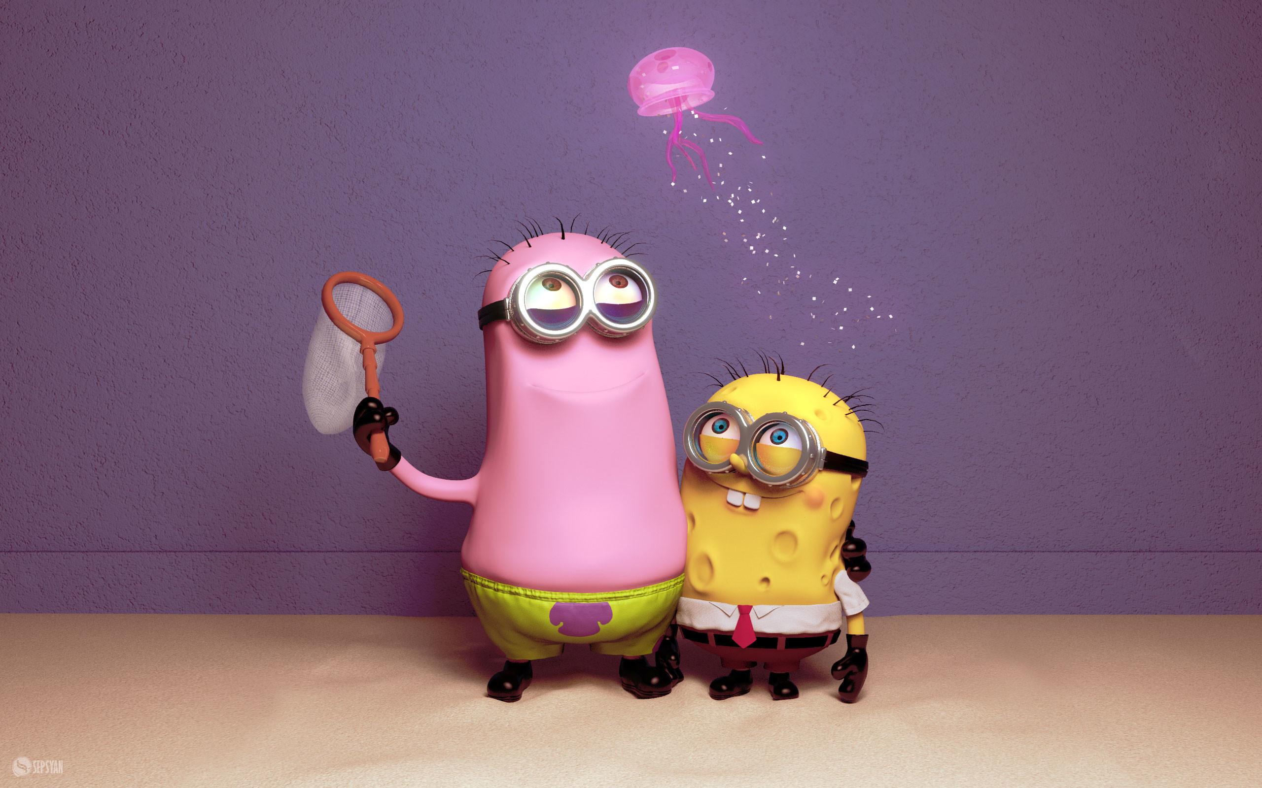 """Despicable Me"" Minions ""SpongeBob"" SquarePants lol my god do u think it is  spongbob or patricK"