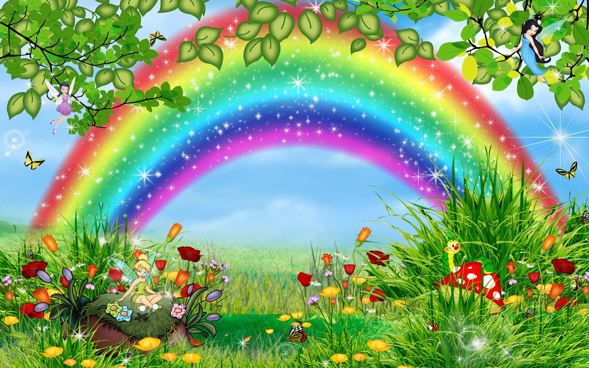 Rainbow Cartoon HD wallpaper