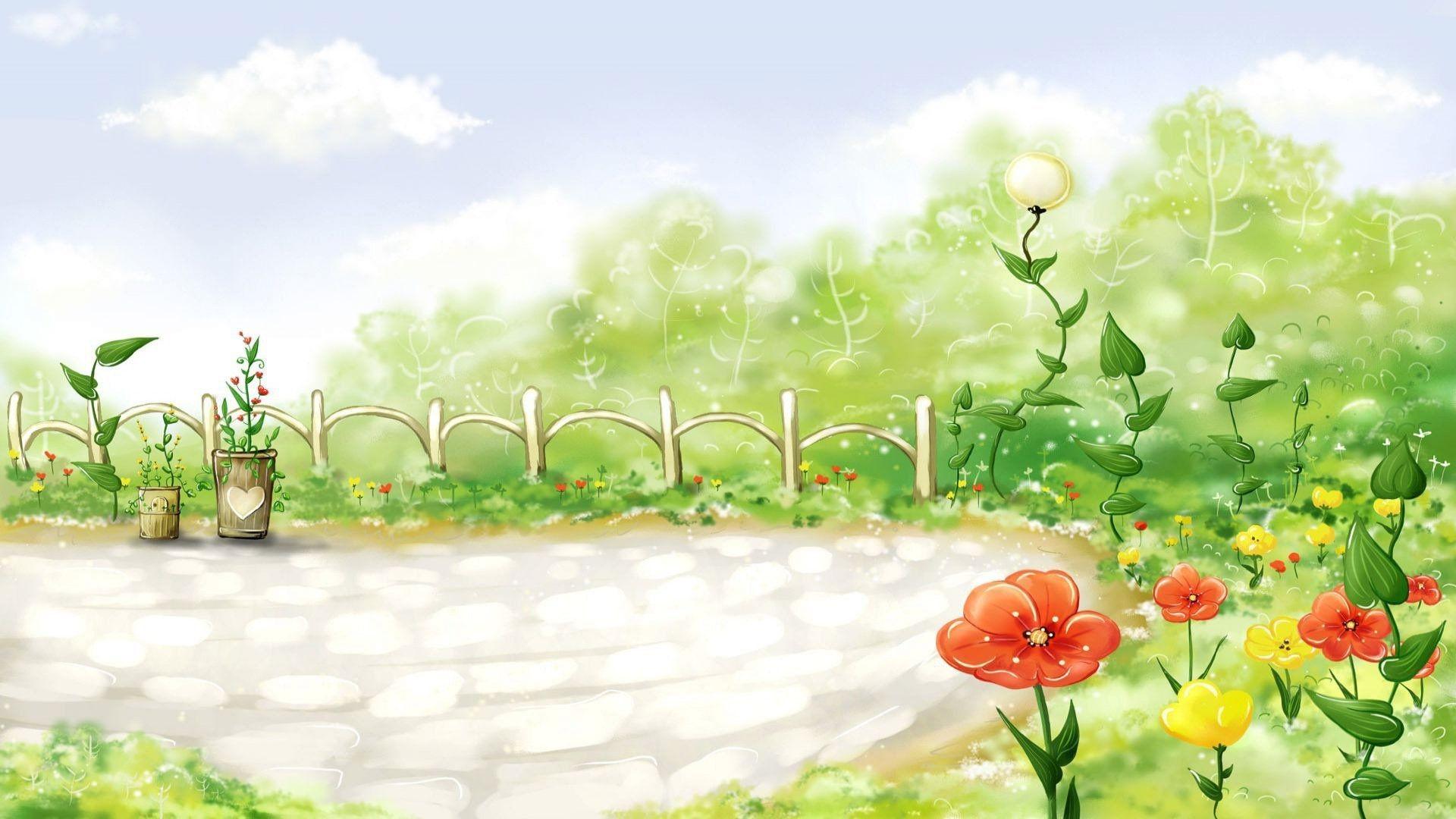Desktop Wallpaper Background Spring Flower Gardens Flowers