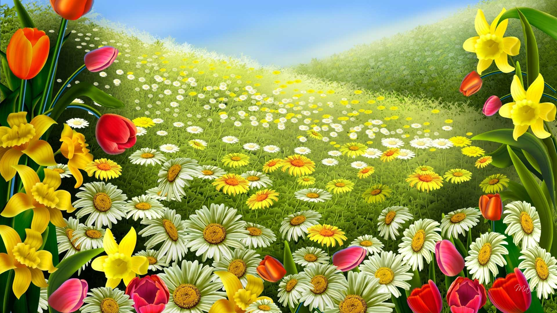 A cartoonistic garden of variety of flowers