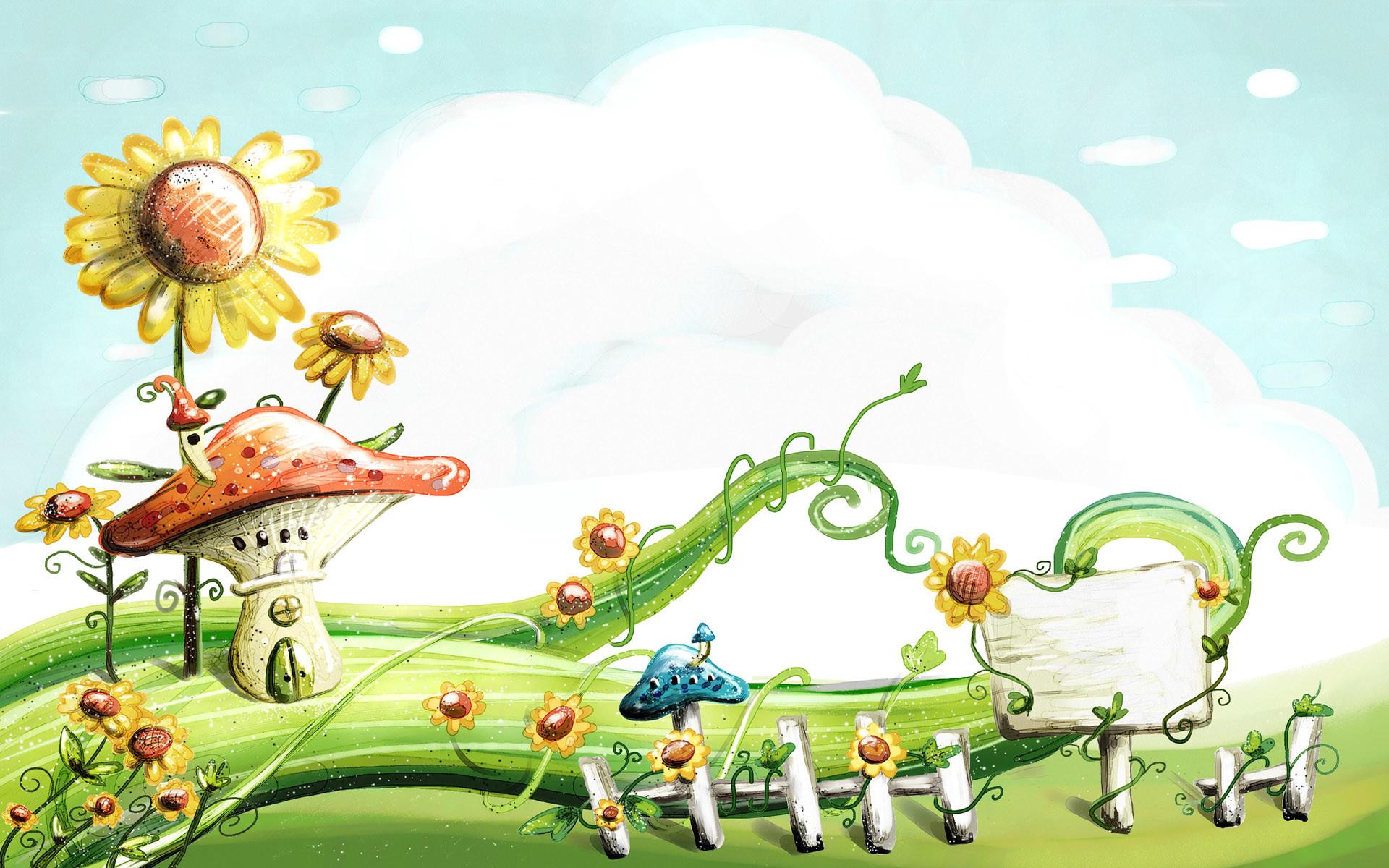 cute cartoon spring wallpaper – photo #1