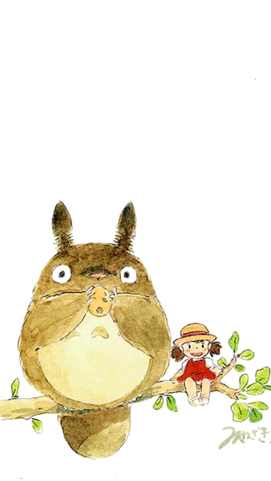 My Neighbor Totoro Cute Girl Branch Art Drawn #iPhone #6 #plus #wallpaper