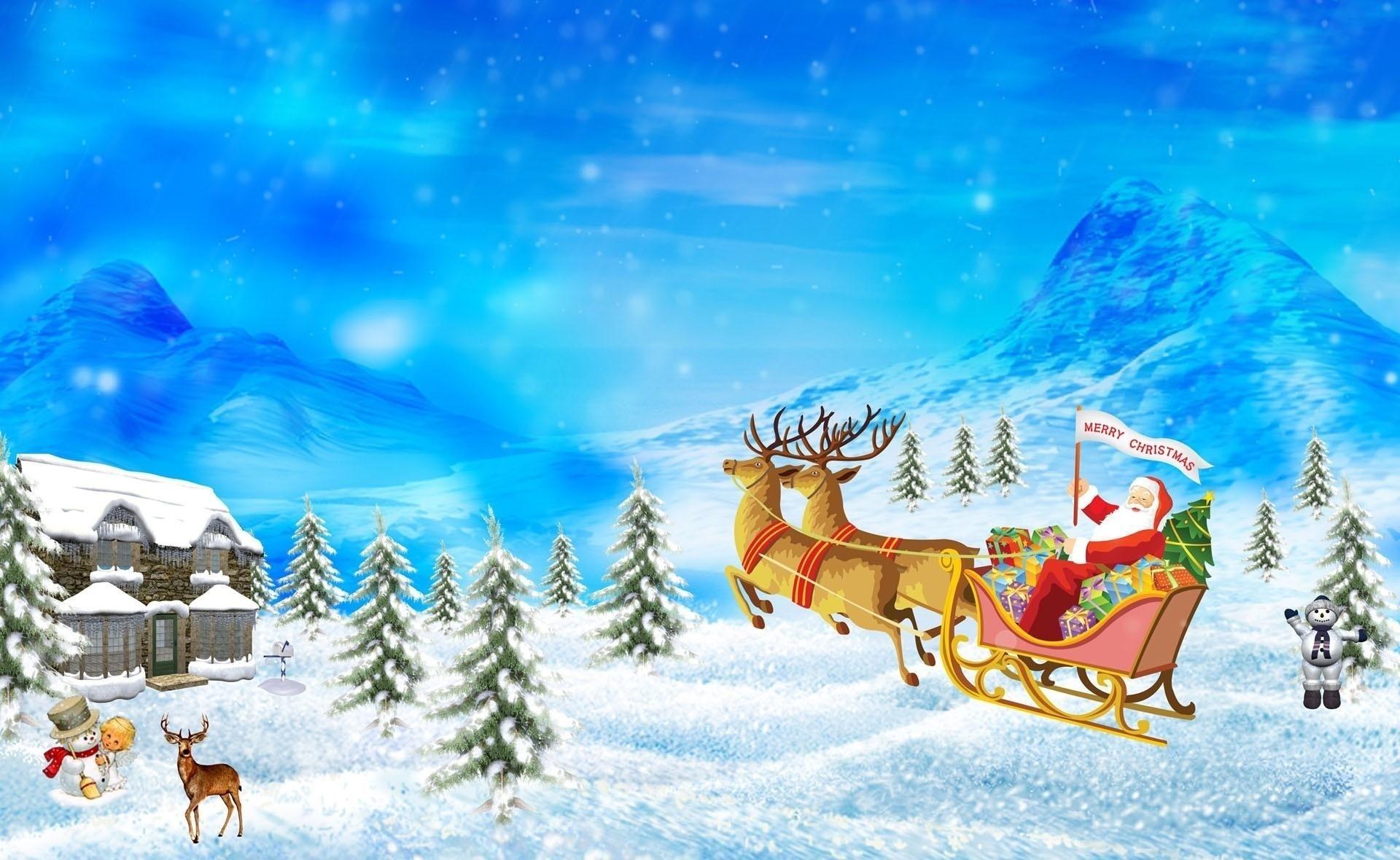 Christmas Santa Claus Reindeer Cartoon HD Wallpapers