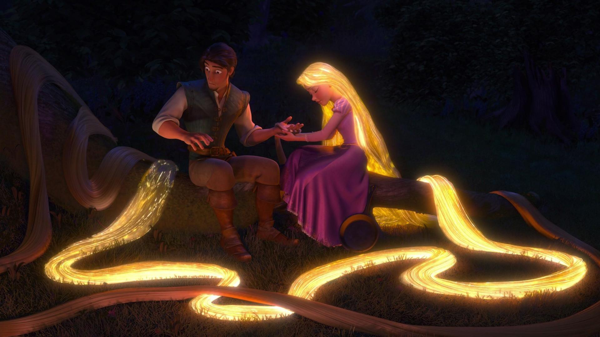 tangled, rapunzel, eugene fitzherbert, flynn rider, hair, night