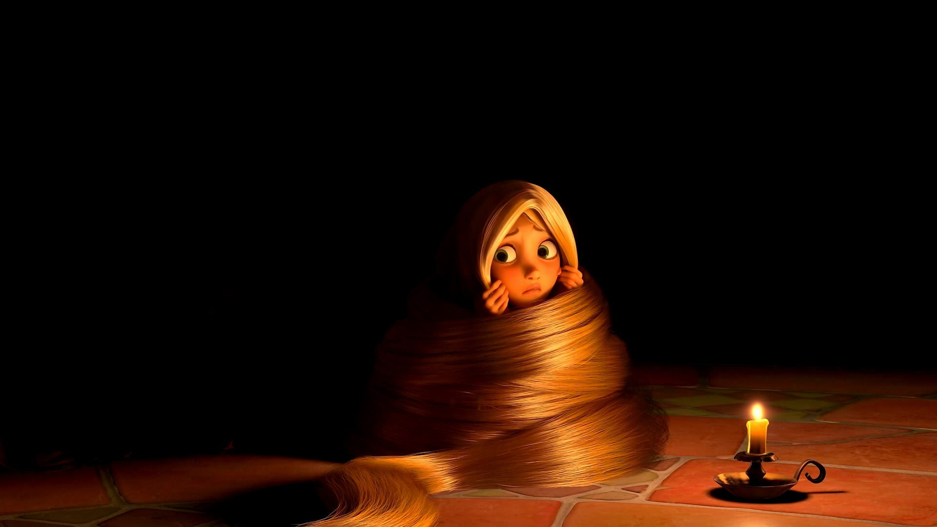 Animated Movies Black Background Candles Disney Rapunzel