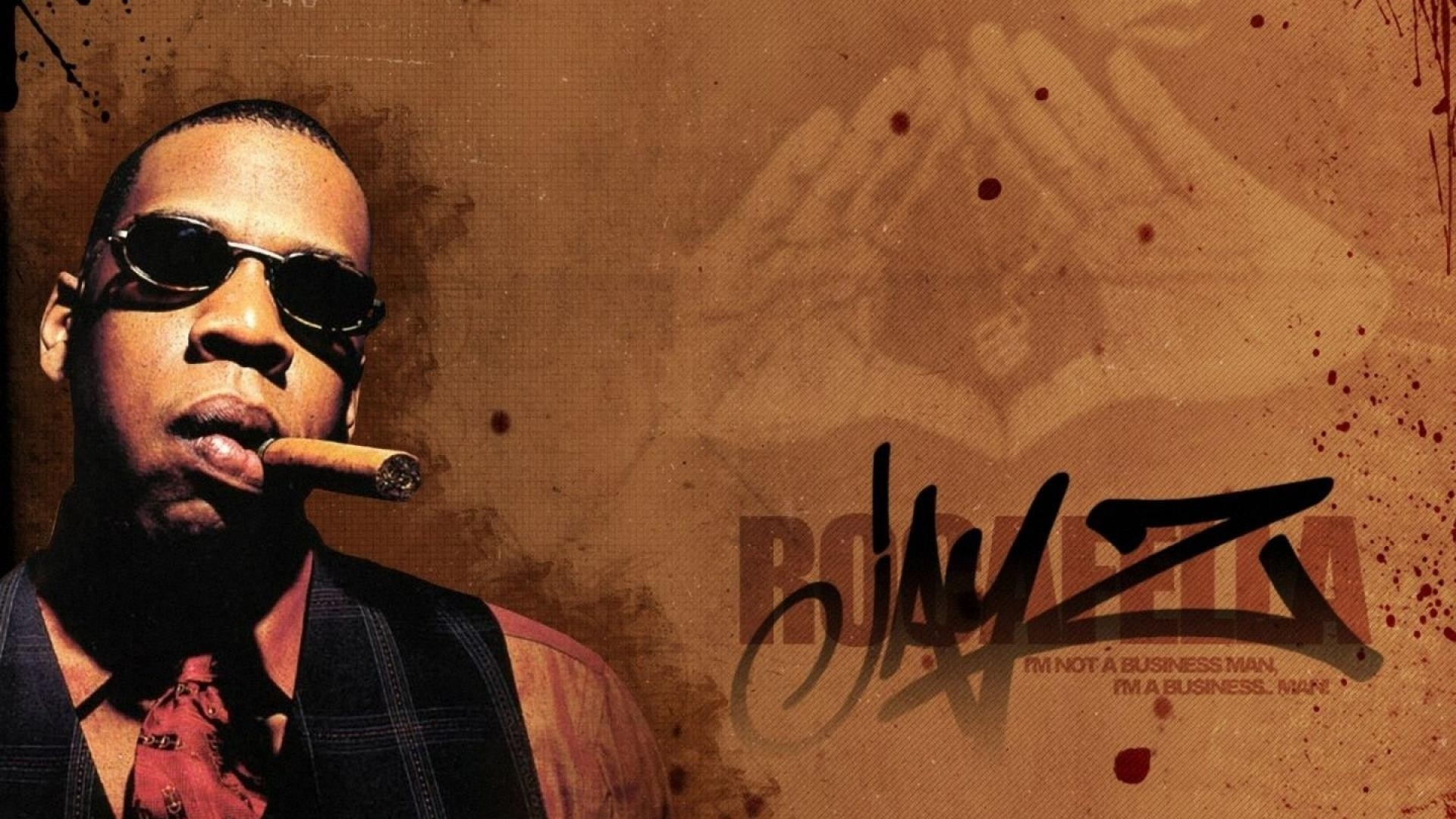 Preview wallpaper jay-z, cigar, glasses, tie, vest 1920×1080