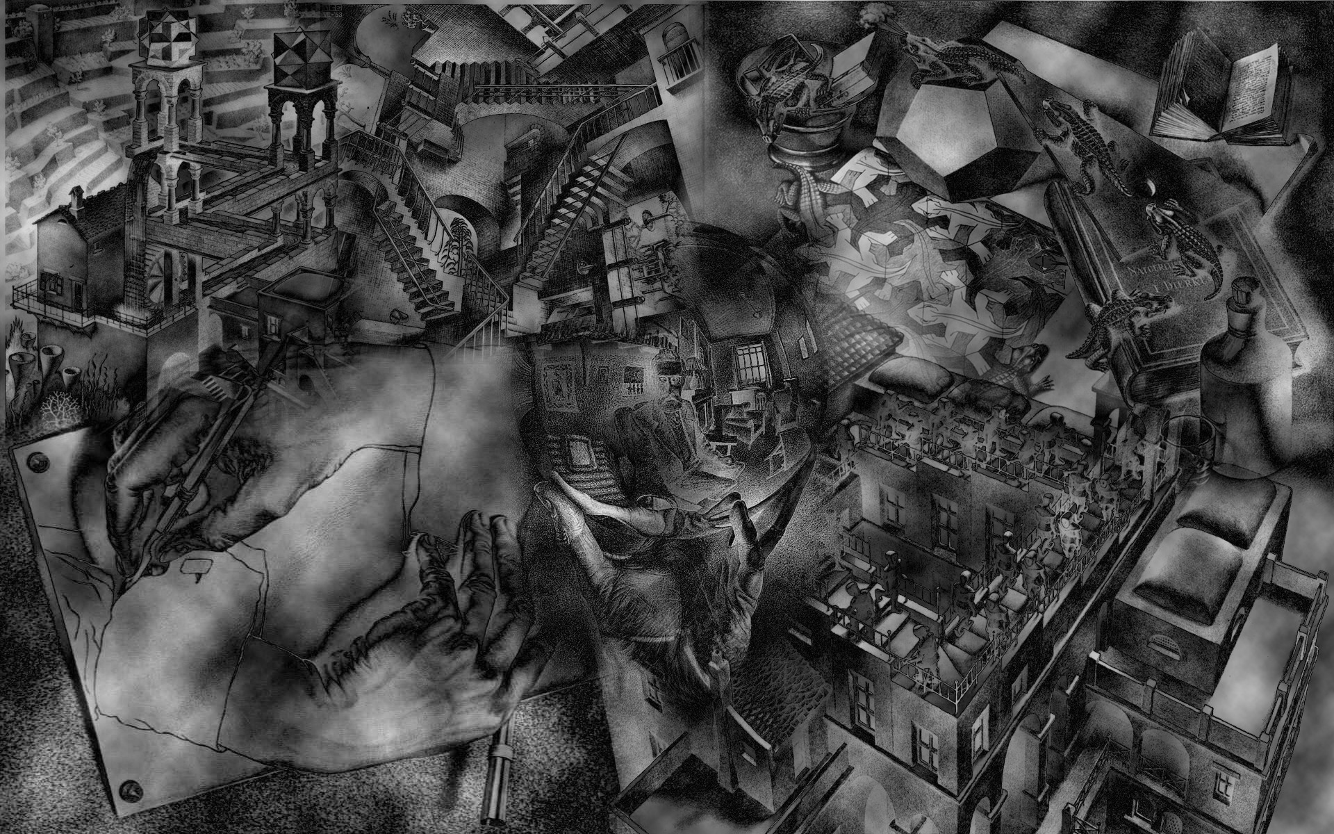 Escher Relativity Wallpaper mc escher wallpaper