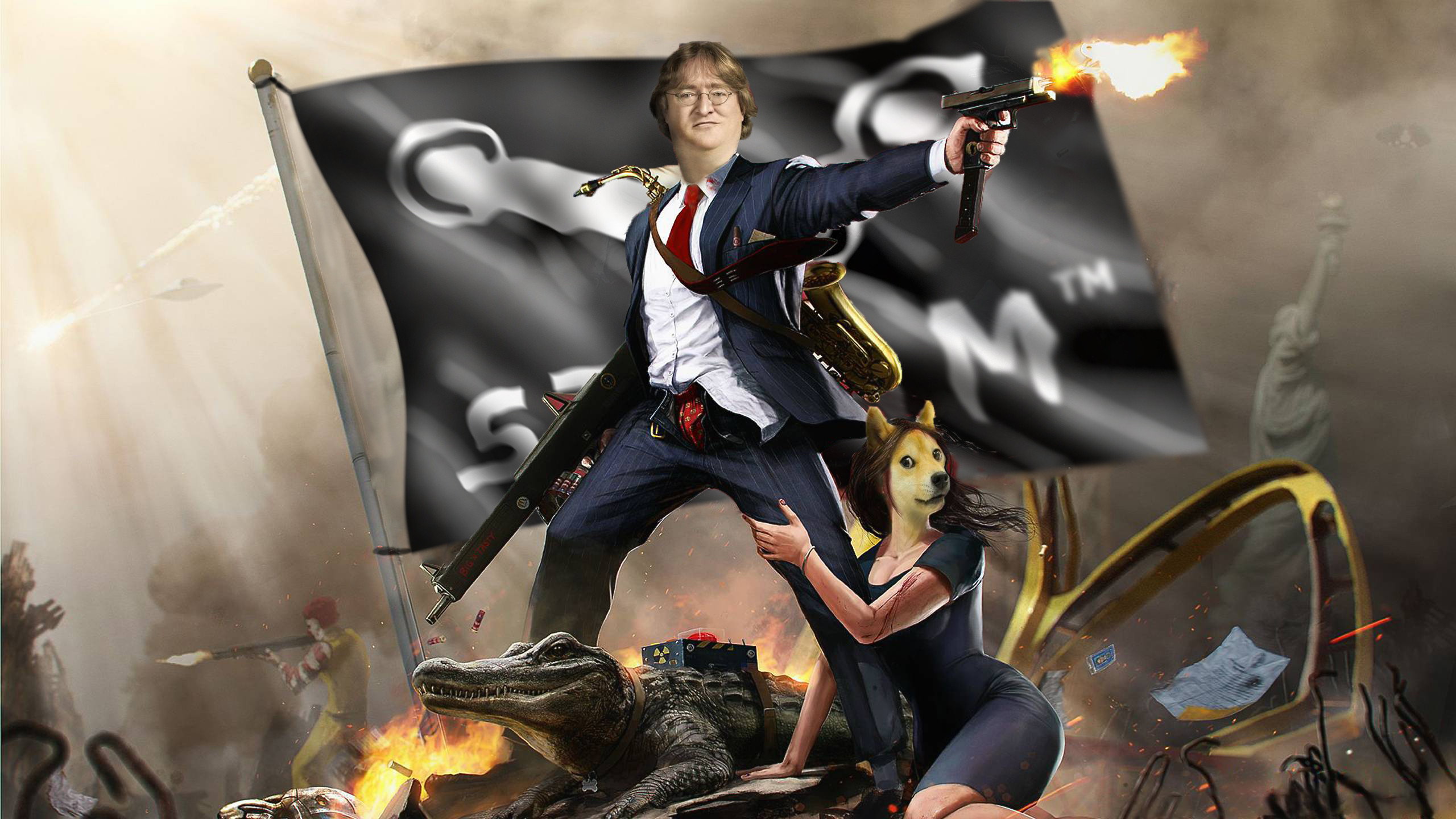 [Per Request] The GabeN Clinton wallpaper, with the steam flag …