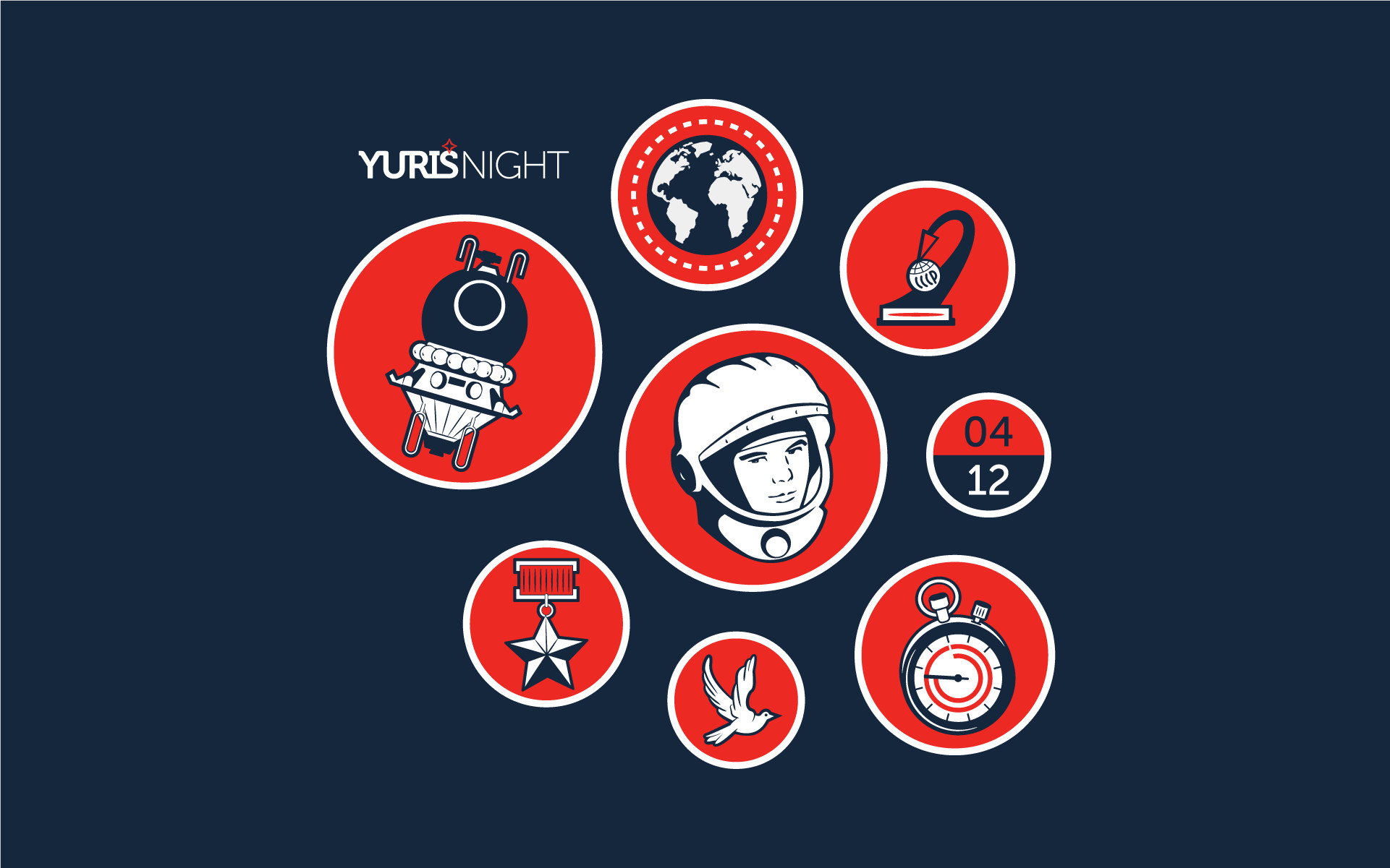 Explanation of elements, clockwise, starting with the Vostok under the  Yuri's Night logo: