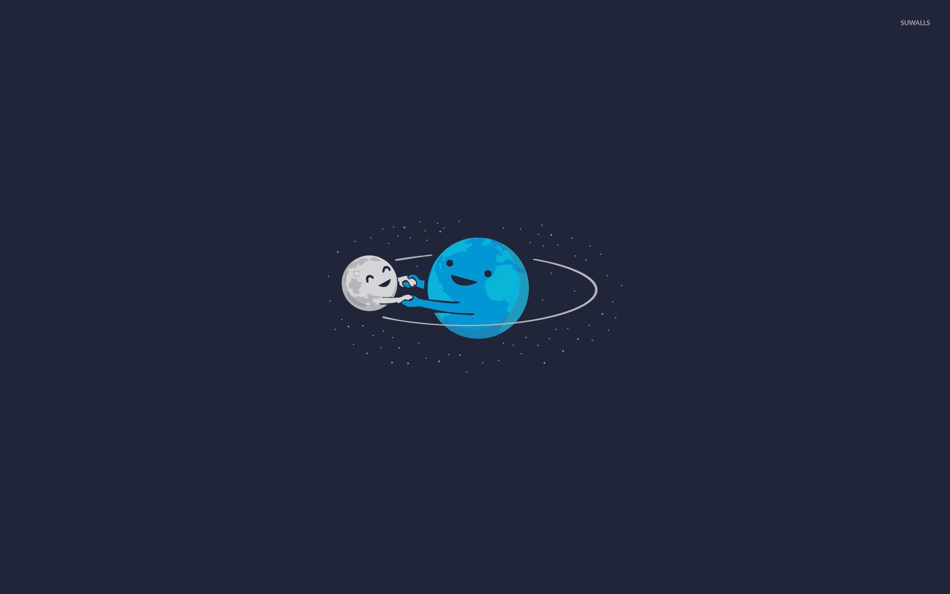 Earth and moon dancing wallpaper jpg