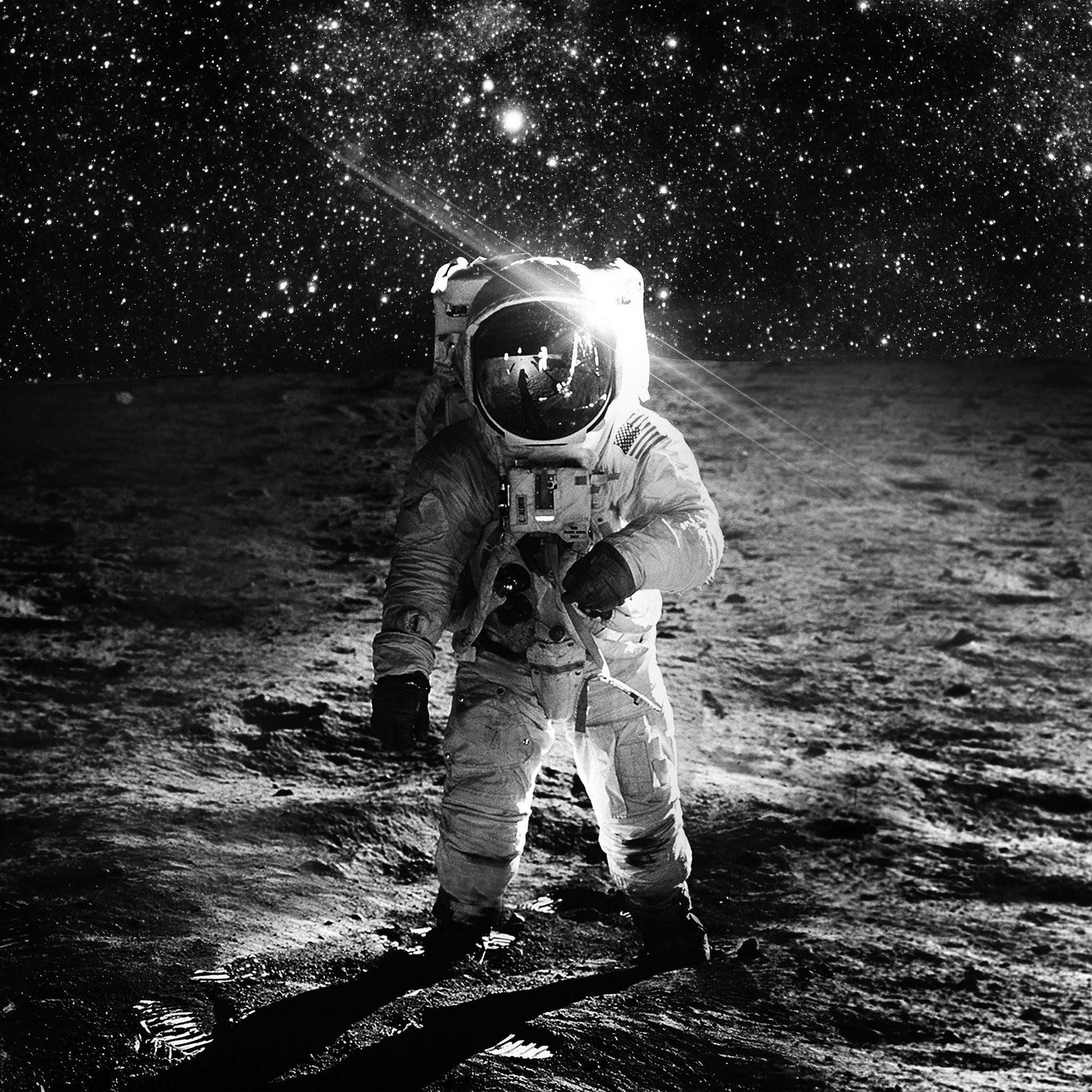 1198 1: Astronaut Space Art Moon Dark Bw iPad wallpaper