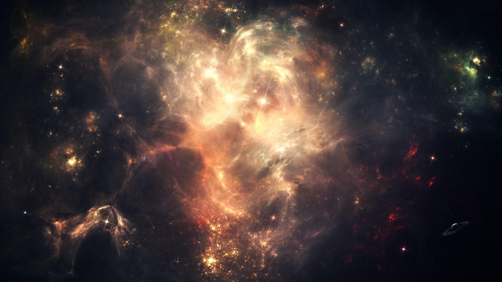 Download HD Space Galaxy Dark Cluster Clouds Lights Shadows Wallpaper