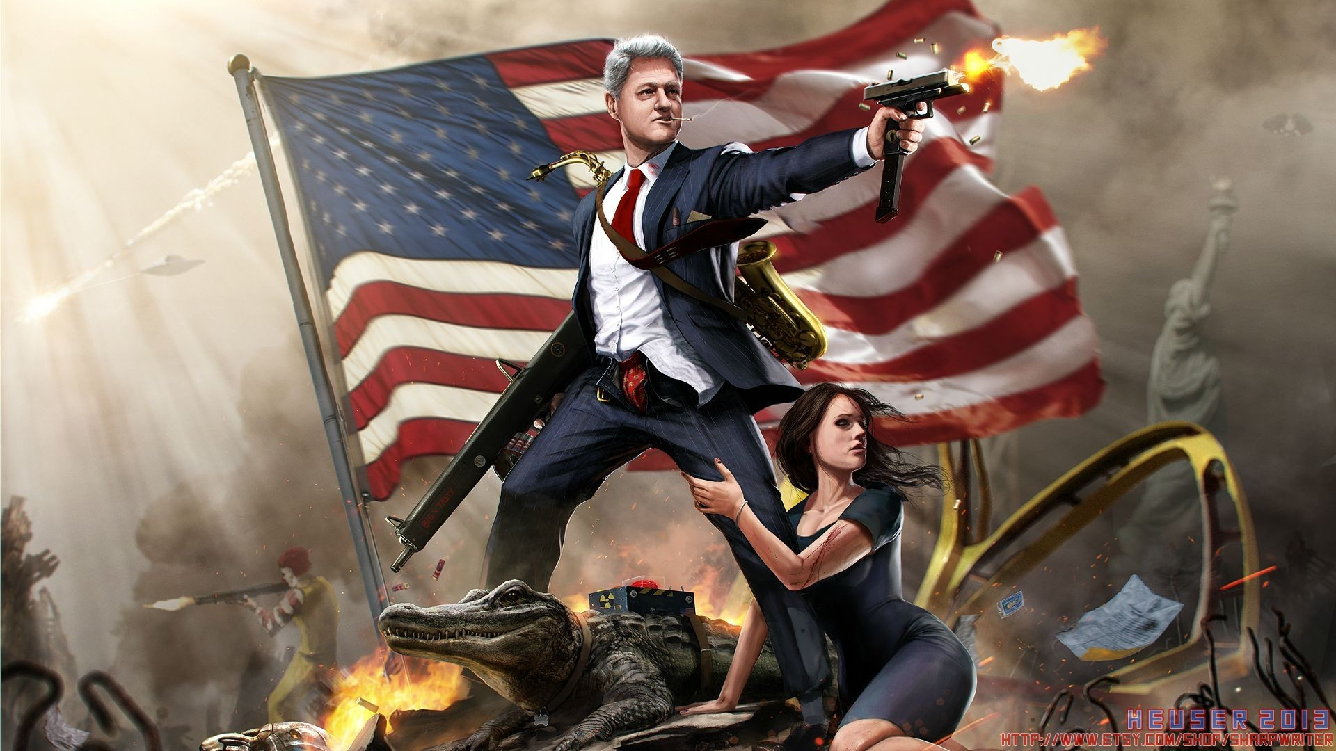 Humor – Politics Artistic Fantasy Bill Clinton President American Flag  Wallpaper