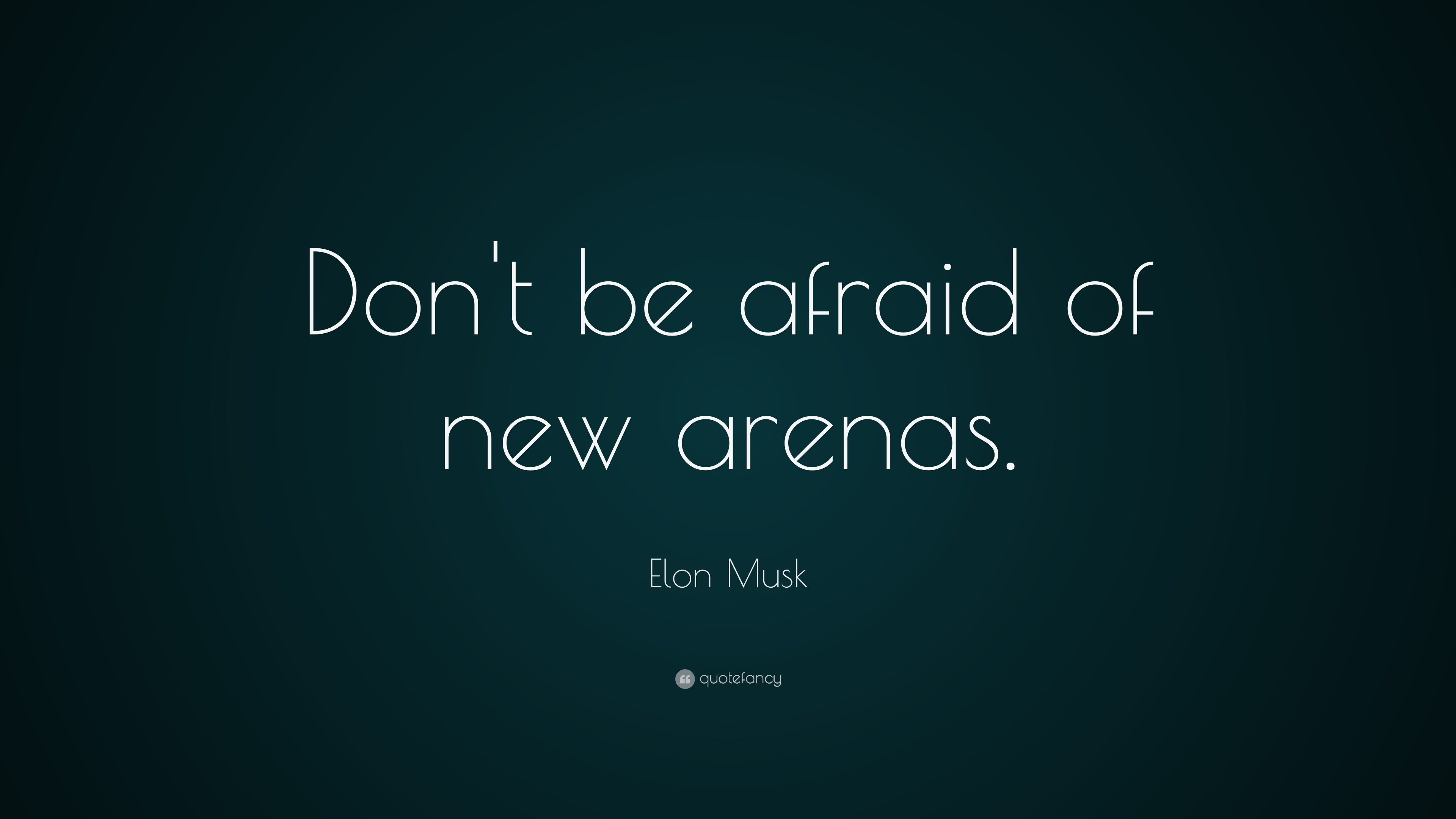 "Elon Musk Quote: ""Don't be afraid of new arenas."""