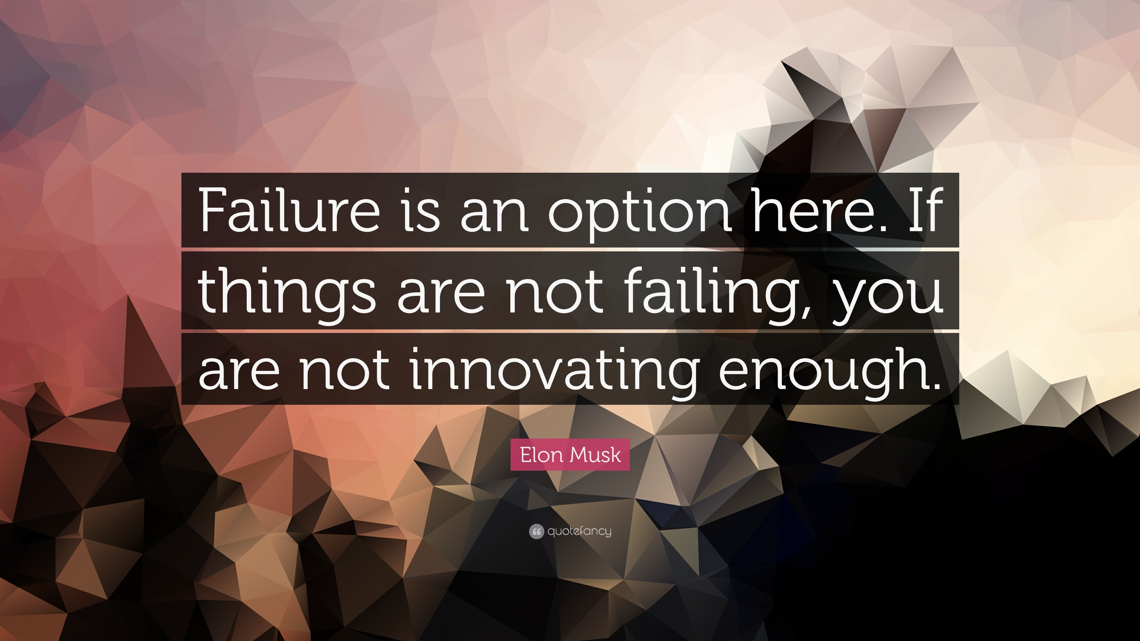 "Elon Musk Quote: ""Failure is an option here. If things are not failing"