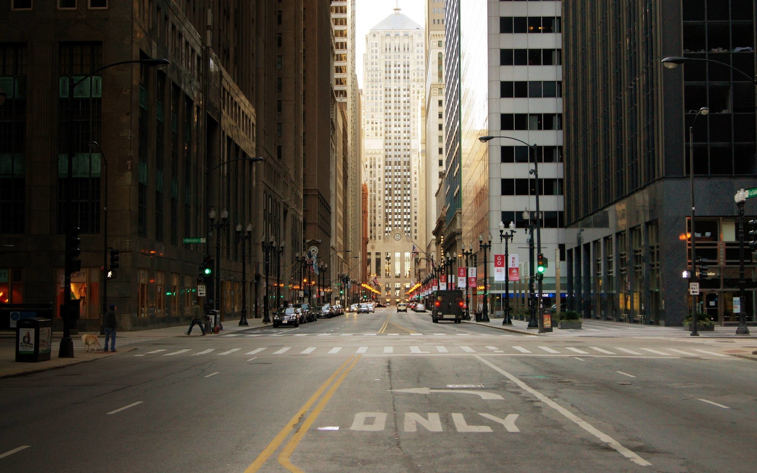 City-street-of-Chicago-in-USA-skyscrapers-Wallpaper-