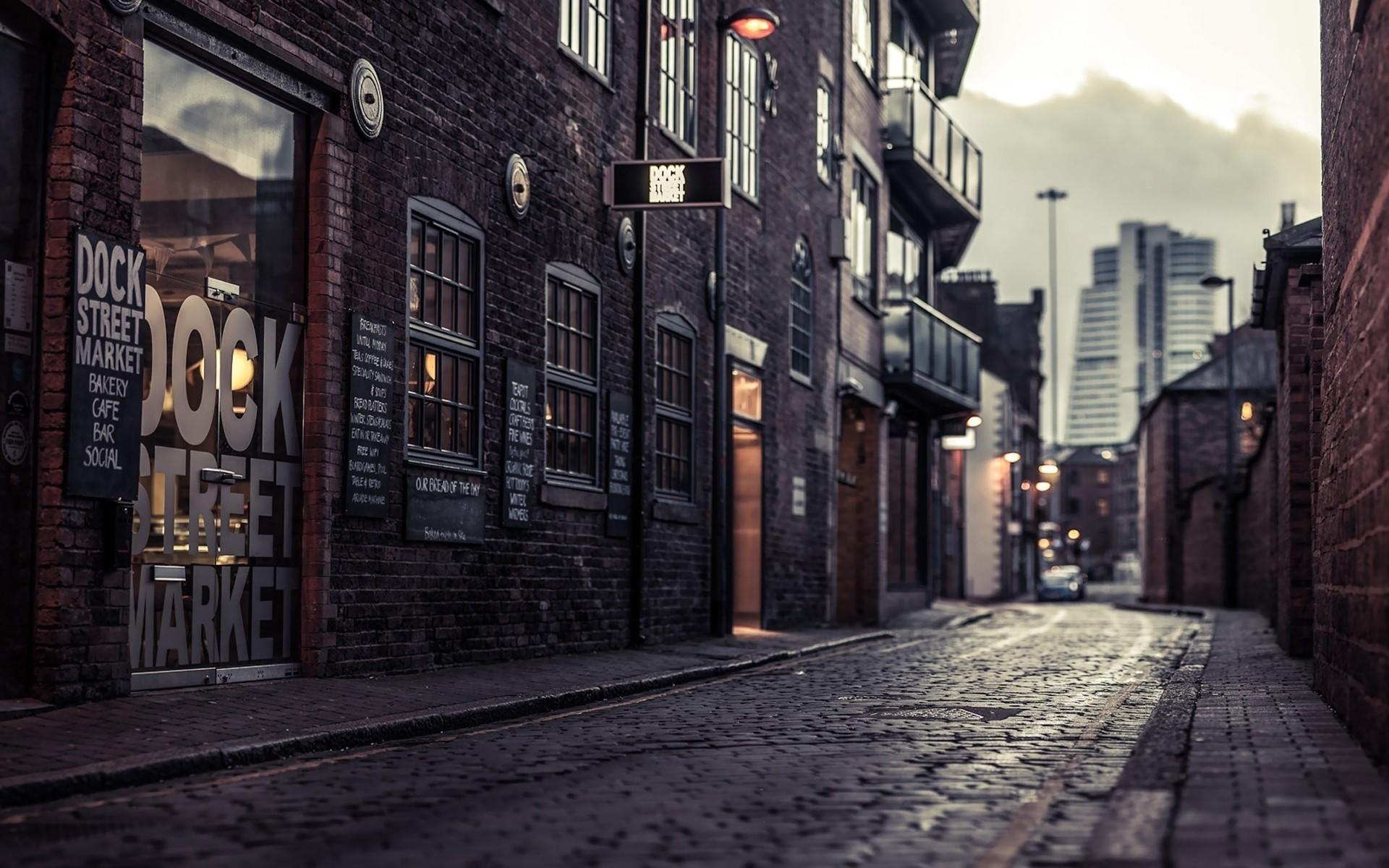 Wallpaper city, street, house, sidewalk