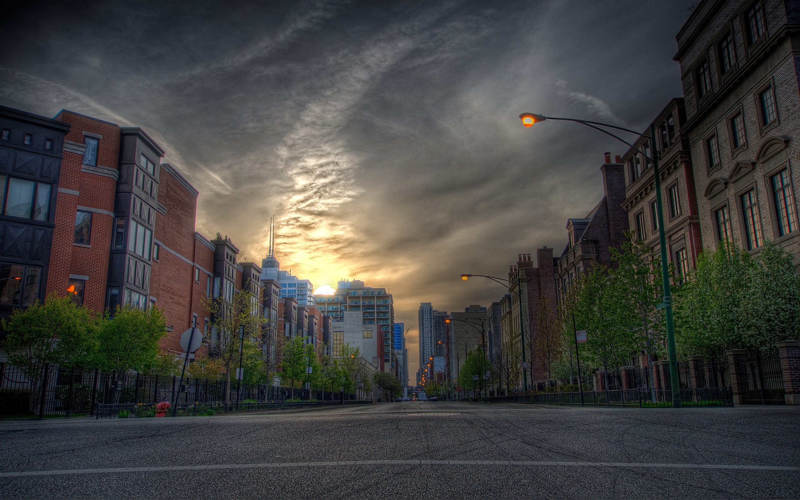 Wallpaper house, city, road, street, hdr
