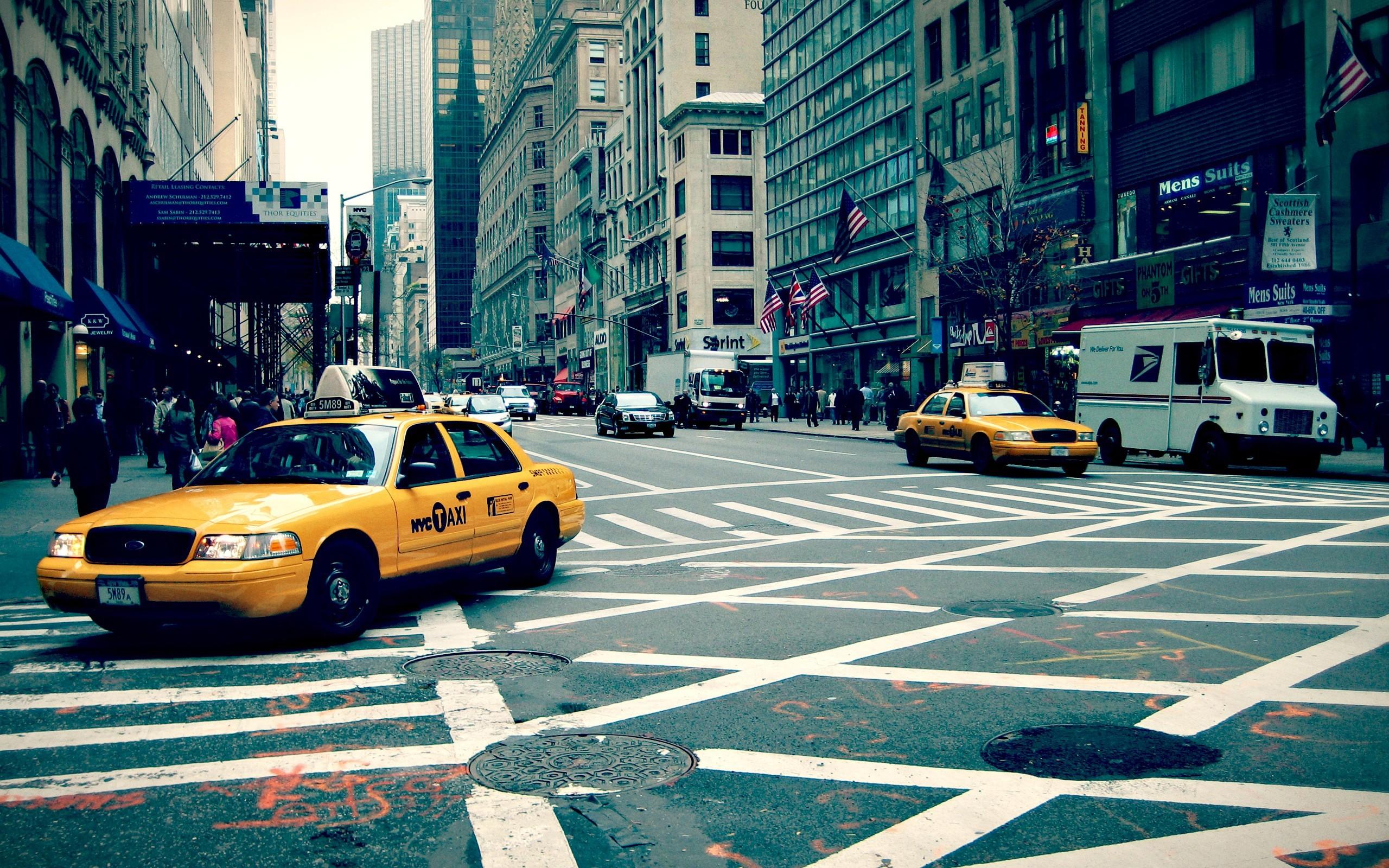 Wallpaper new york, city, street, taxi