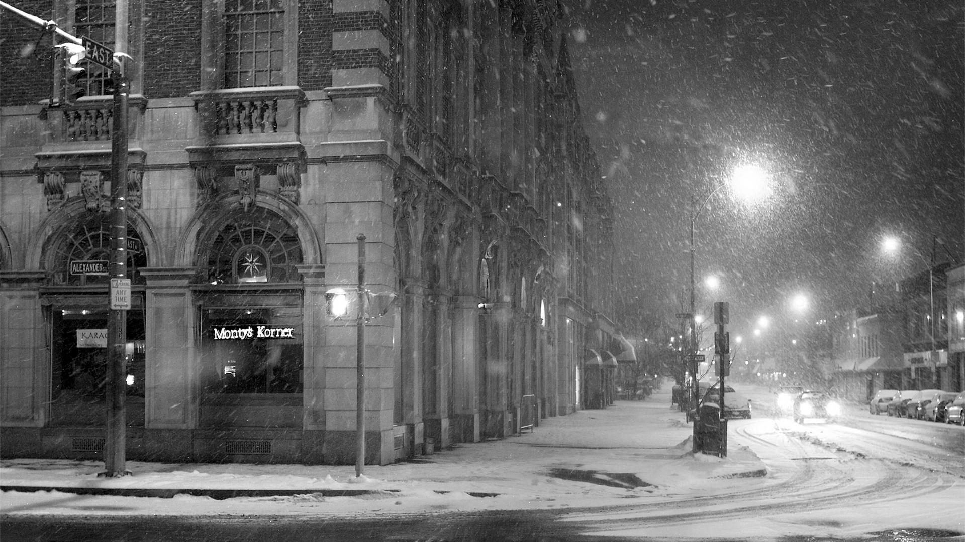 City Street Snow Winter Lane Black White [1920×1080] Need #iPhone #6S #