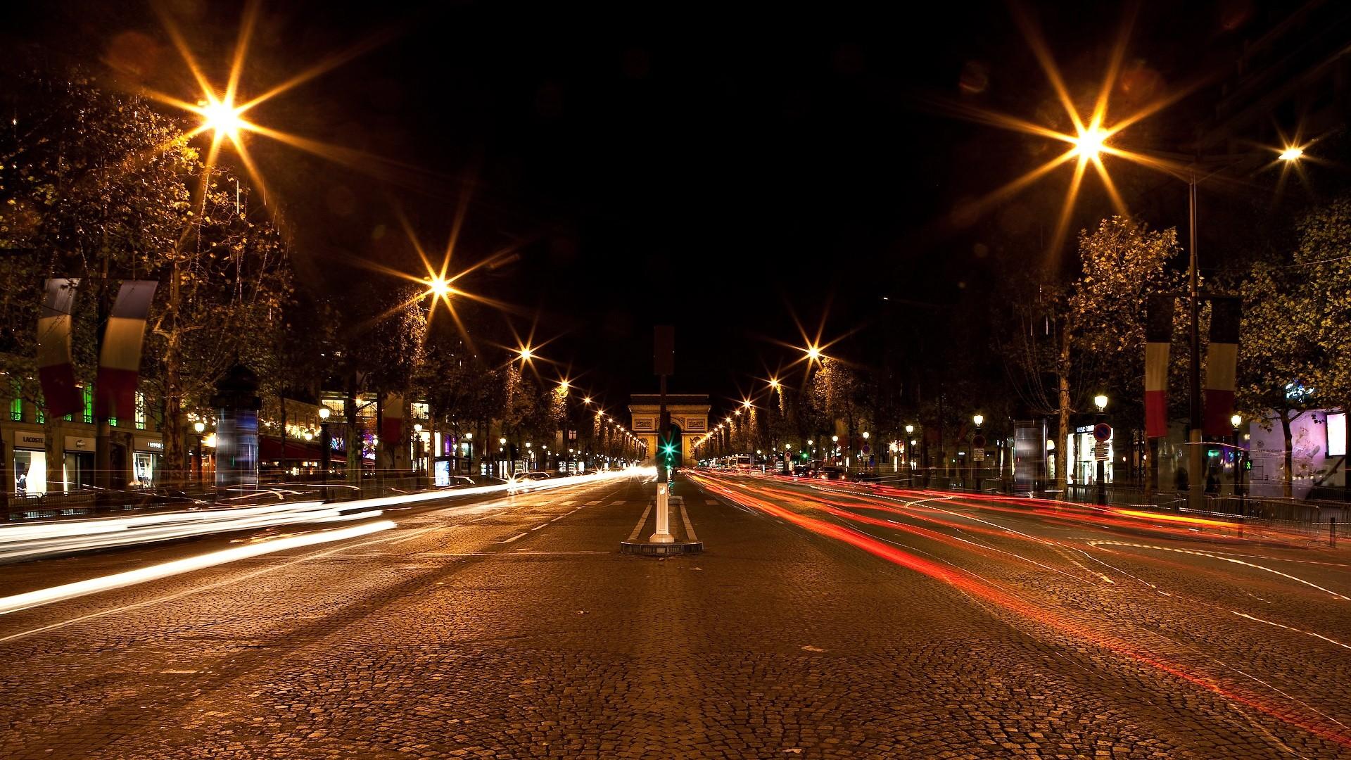 Wallpaper germany, street, gates, night, city lights