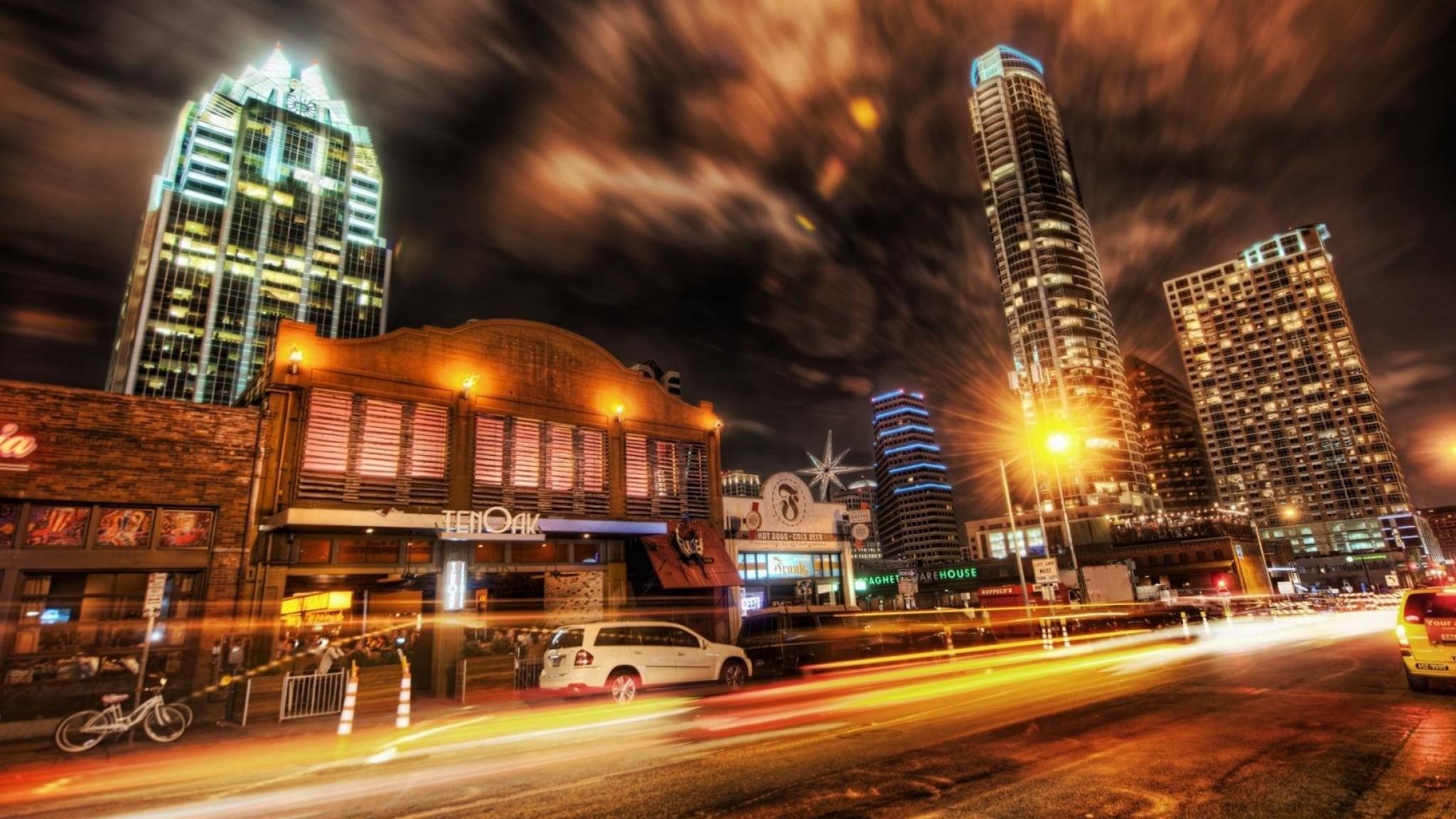Download Wallpaper City , Night, Street .