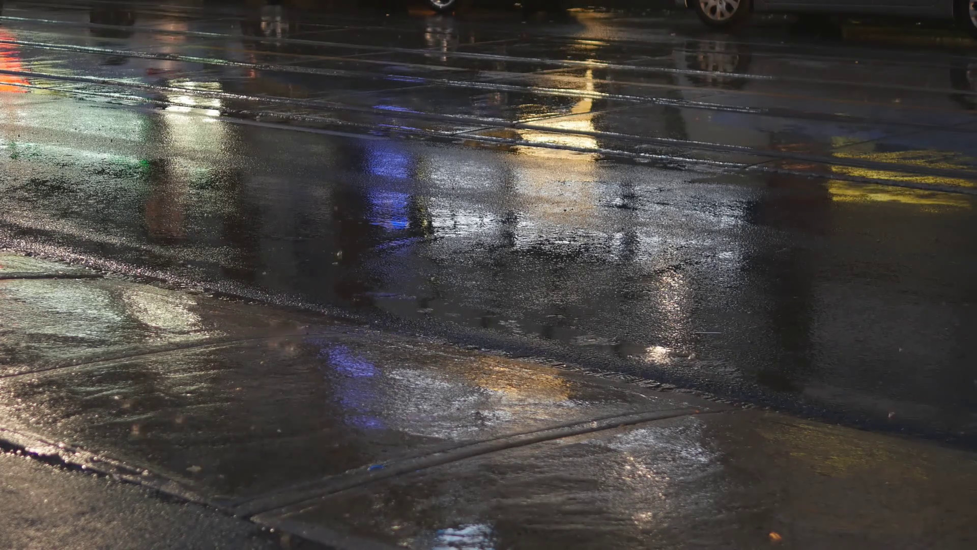 Detail of wet city street on rainy night. Traffic passing by. Good  background for text etc. Stock Video Footage – VideoBlocks
