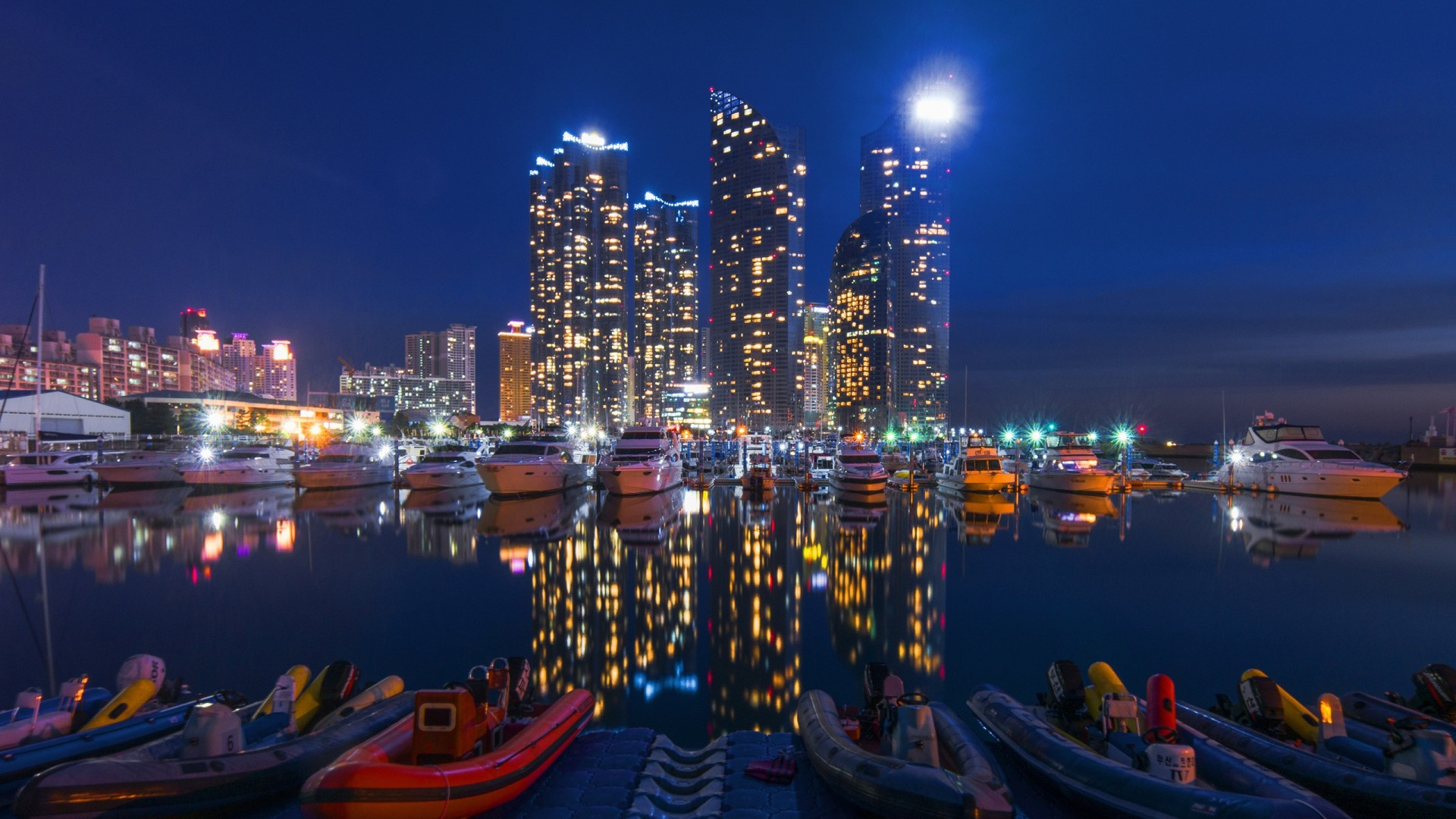 Preview wallpaper night city, buildings, night, sky, boats 1920×1080