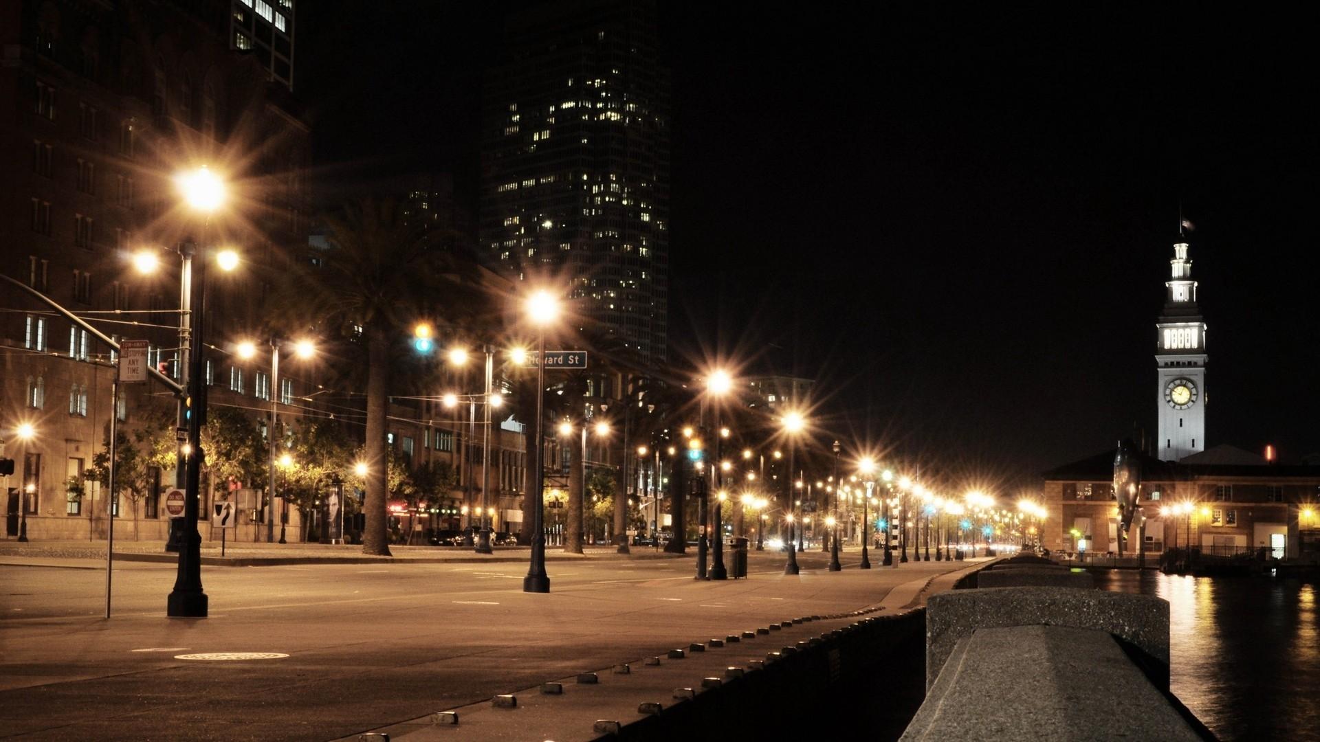 Wallpaper Usa, City, America, Night, Lights city, Road