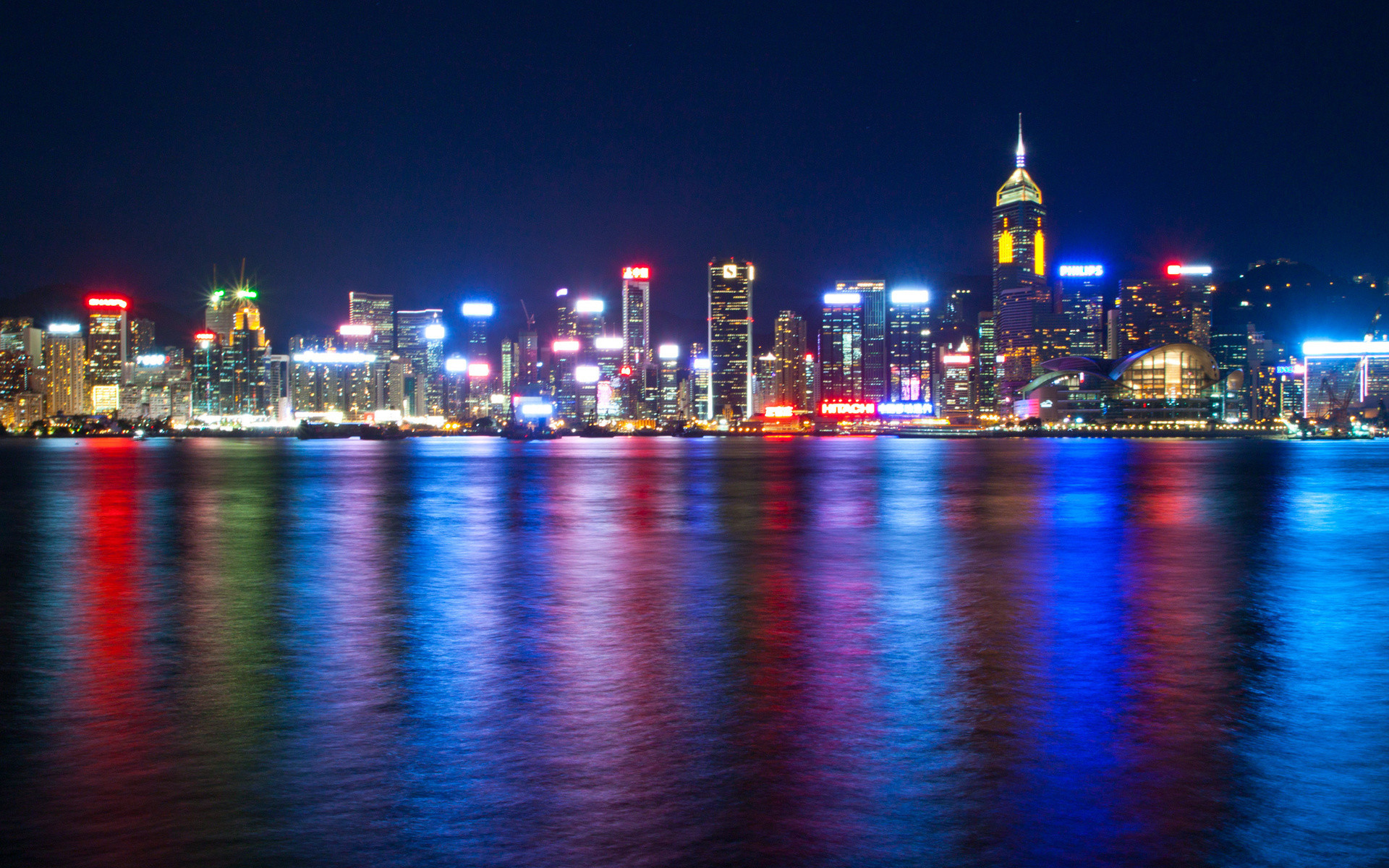 hdr water reflection color skyline cities city scape night lights .