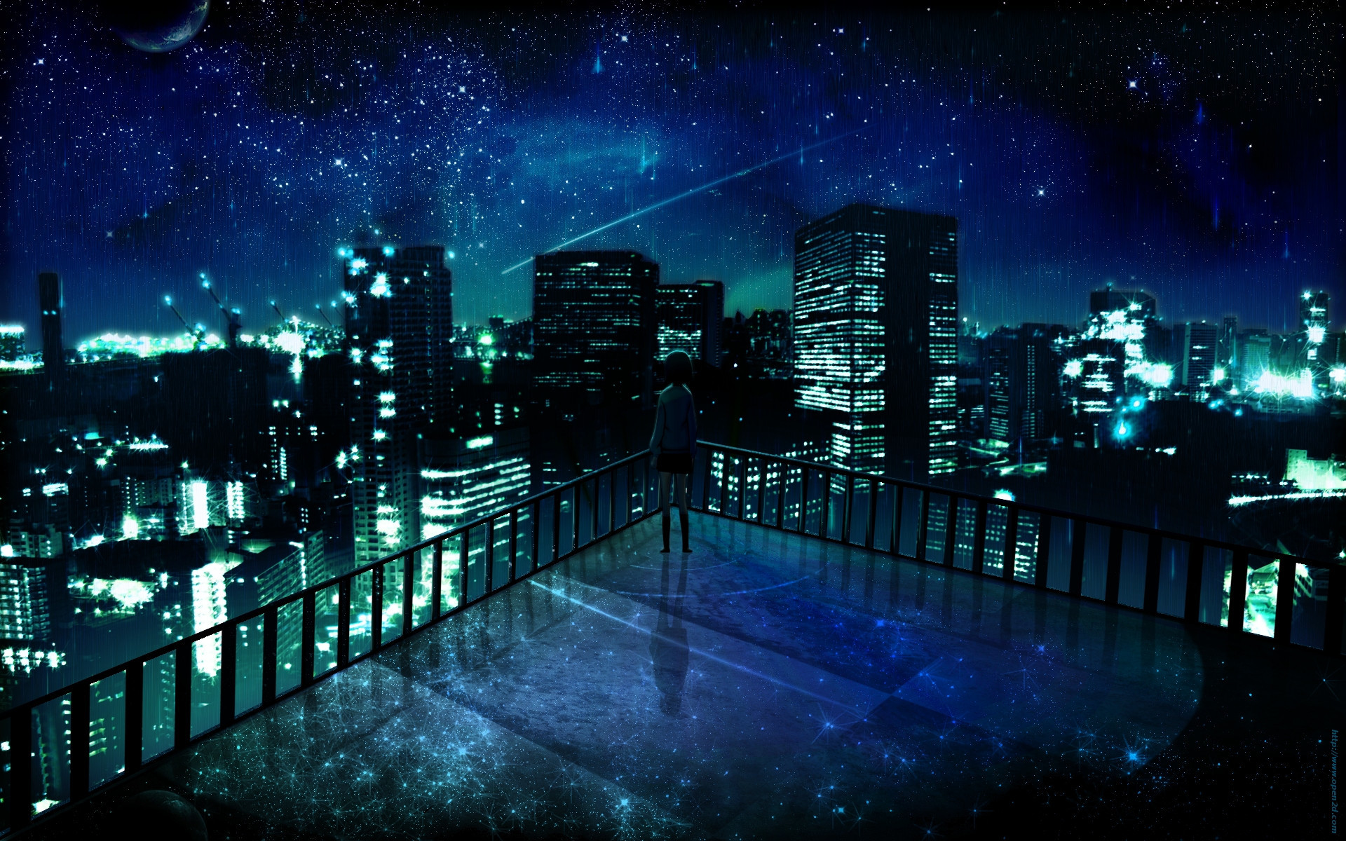 outer space cityscapes night stars alone balcony buildings city lights  artwork manga night landscape Wallpaper