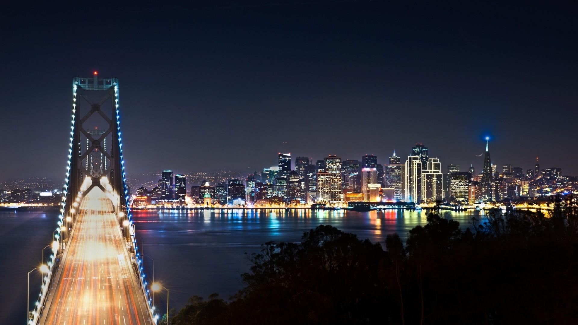 Wallpaper san francisco, bridge, night city