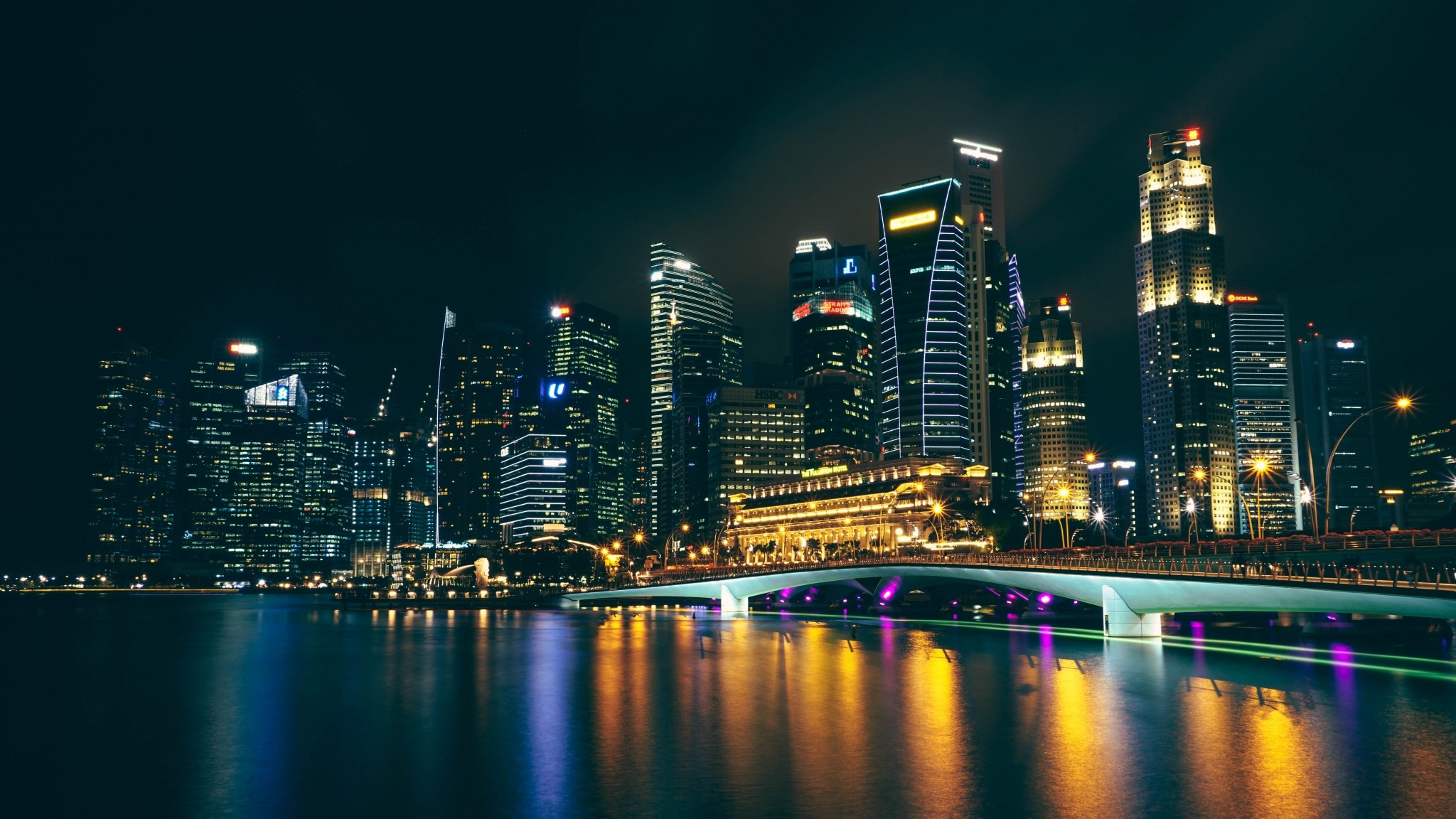 Preview wallpaper night city, architecture, city lights, skyscrapers  2048×1152