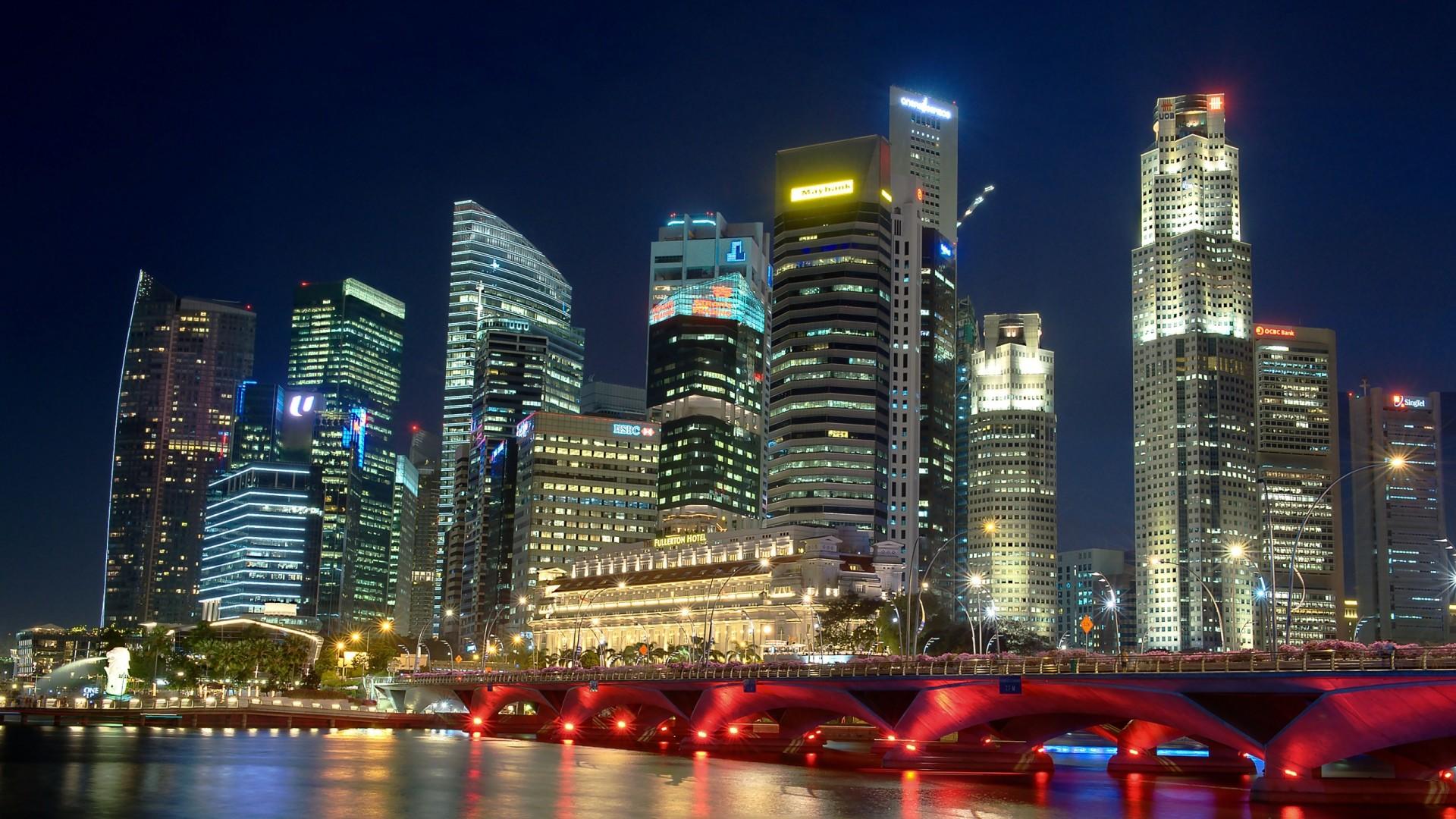 Wallpaper singapore, river, night, night city