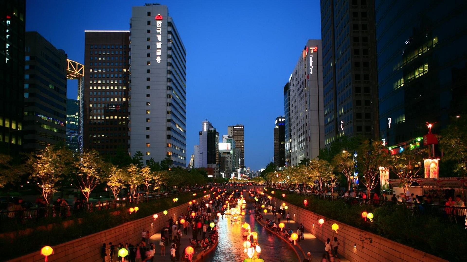 Wallpaper korea, asia, seoul, south korea, night, city, lights