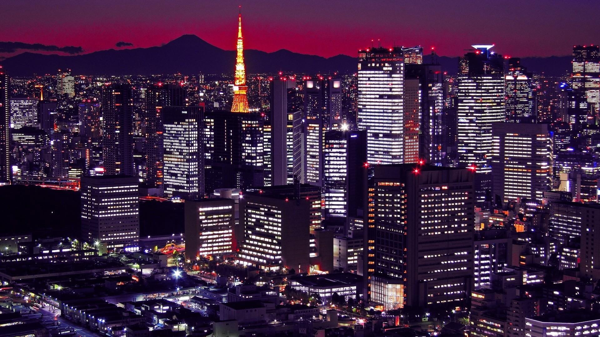 Wallpaper japan, tokyo, buildings, night, city