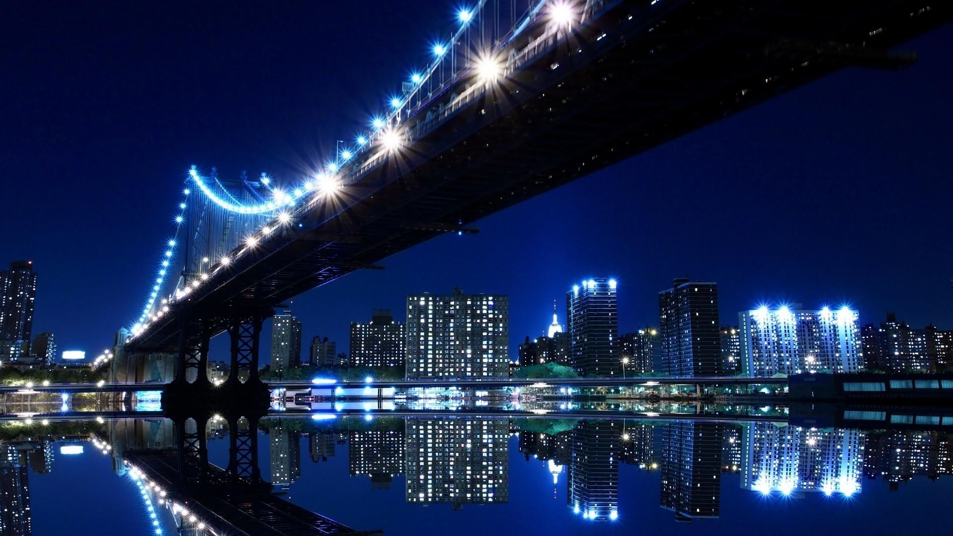 Late Night City Bridge View HD Wallpaper. « »