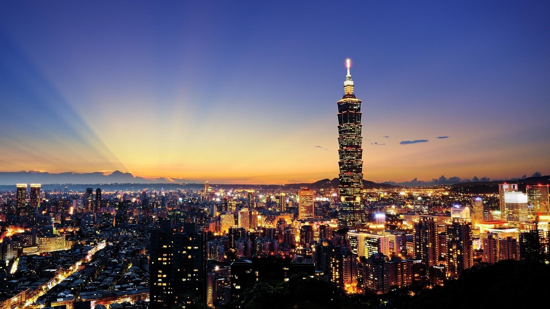 Wallpaper skyscrapers, city, night, lights
