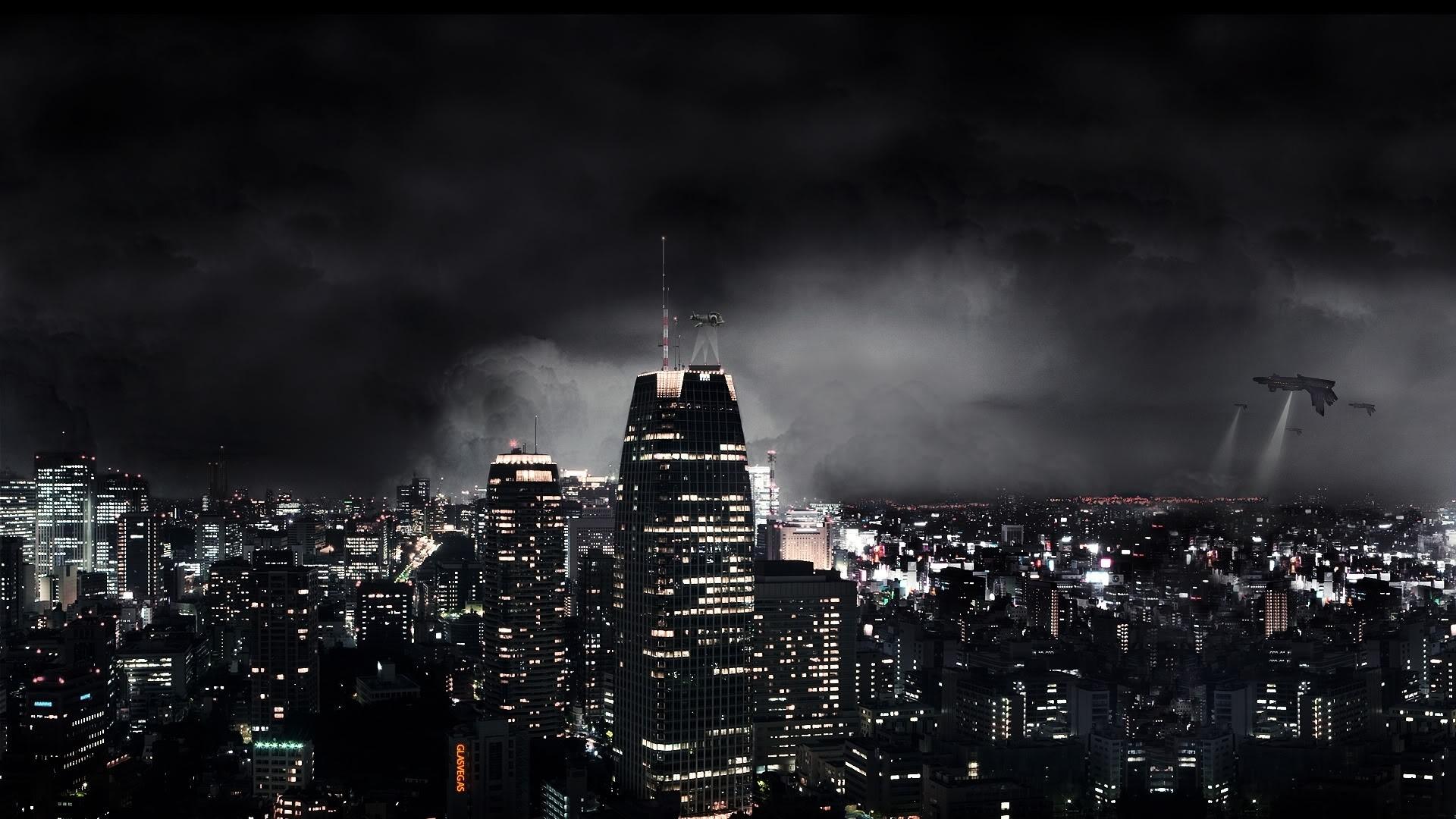 Wallpaper dark city, night, fantasy, skyscrapers