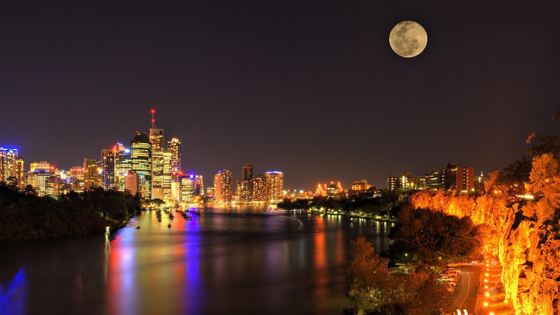 city, night, river