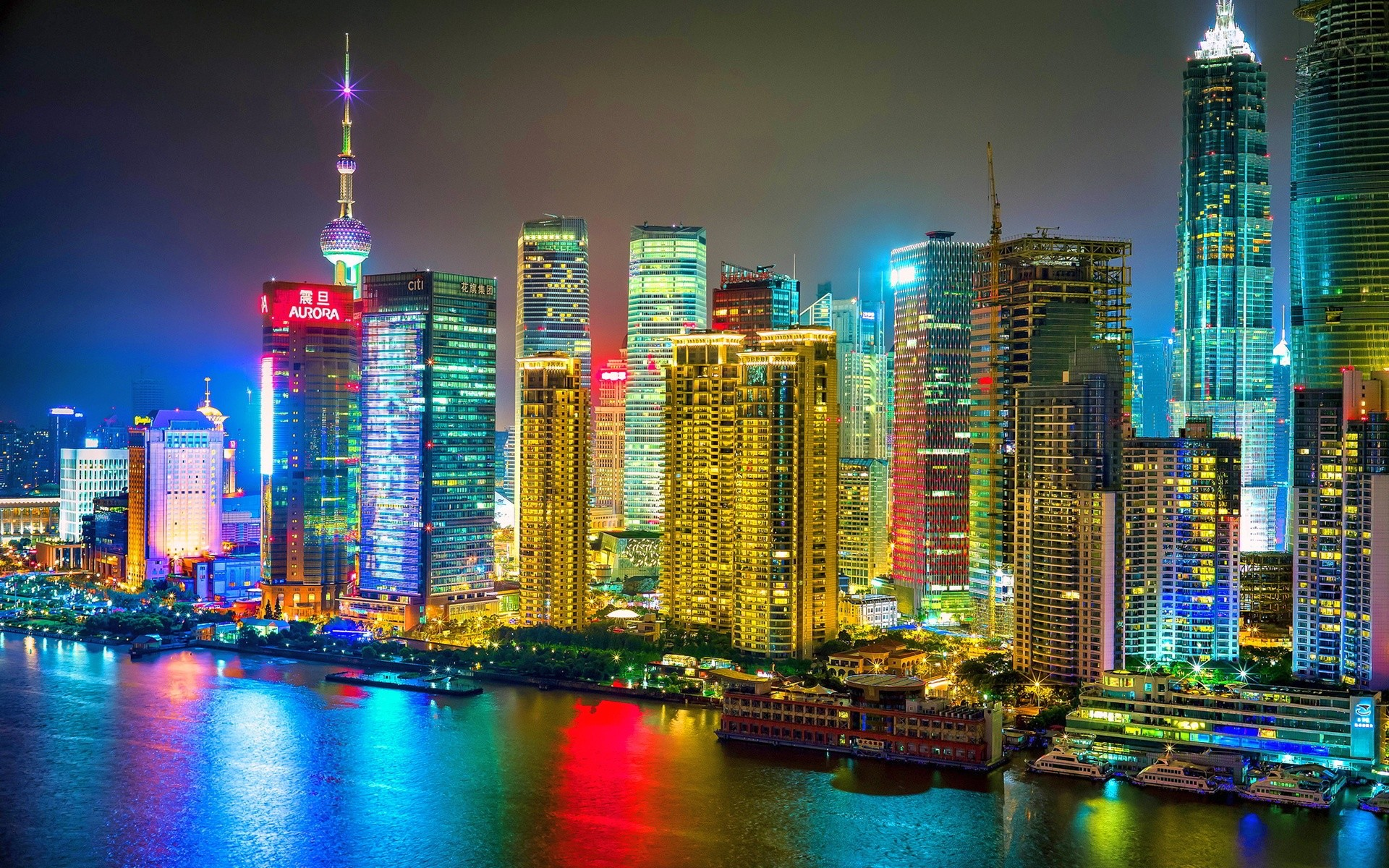 Colorful Shanghai City Night HD Wallpaper