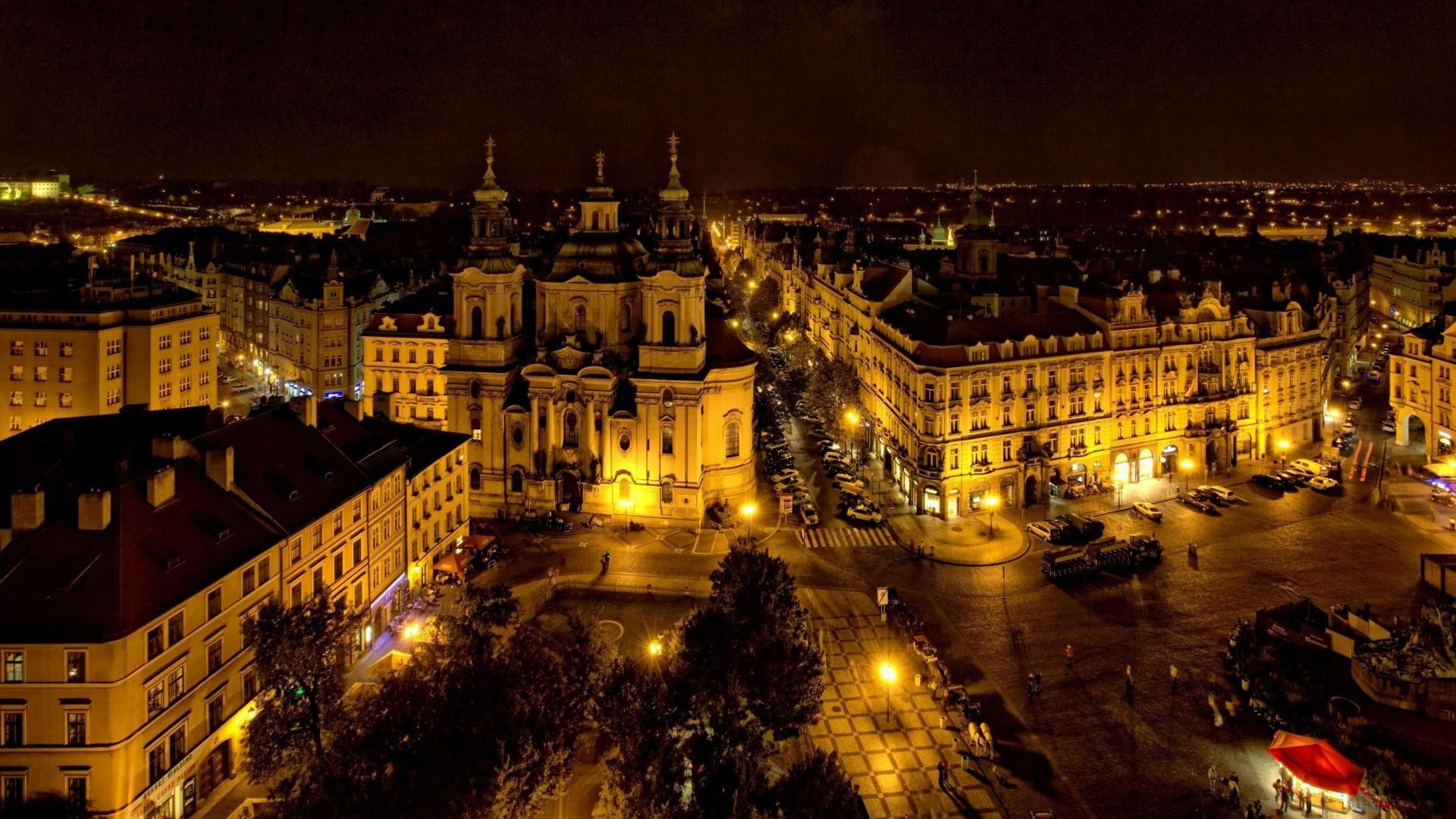 Wallpaper prague, czech republic, city, night