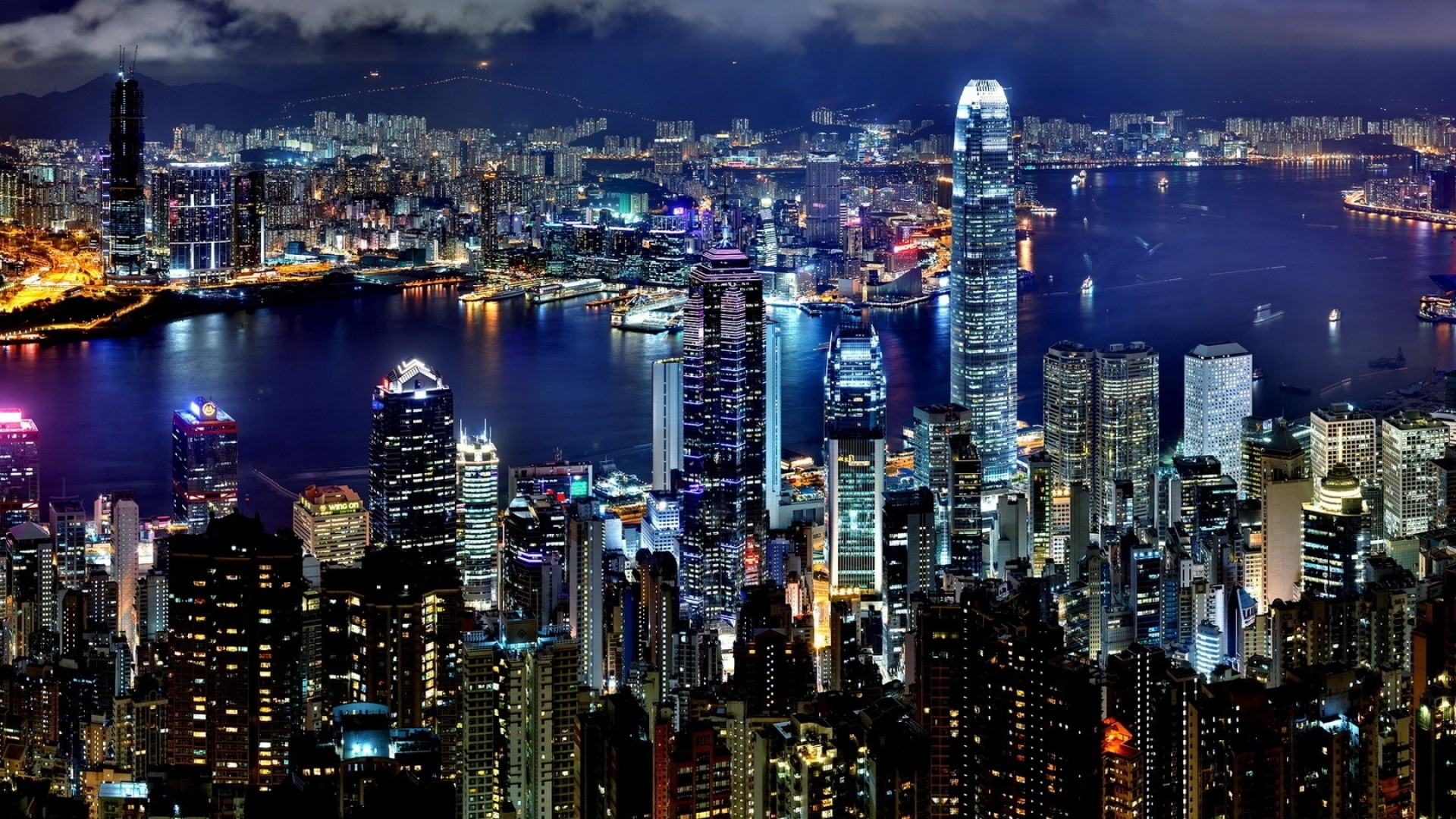 Wallpaper hong kong, city, night, lights, skyscrapers, water