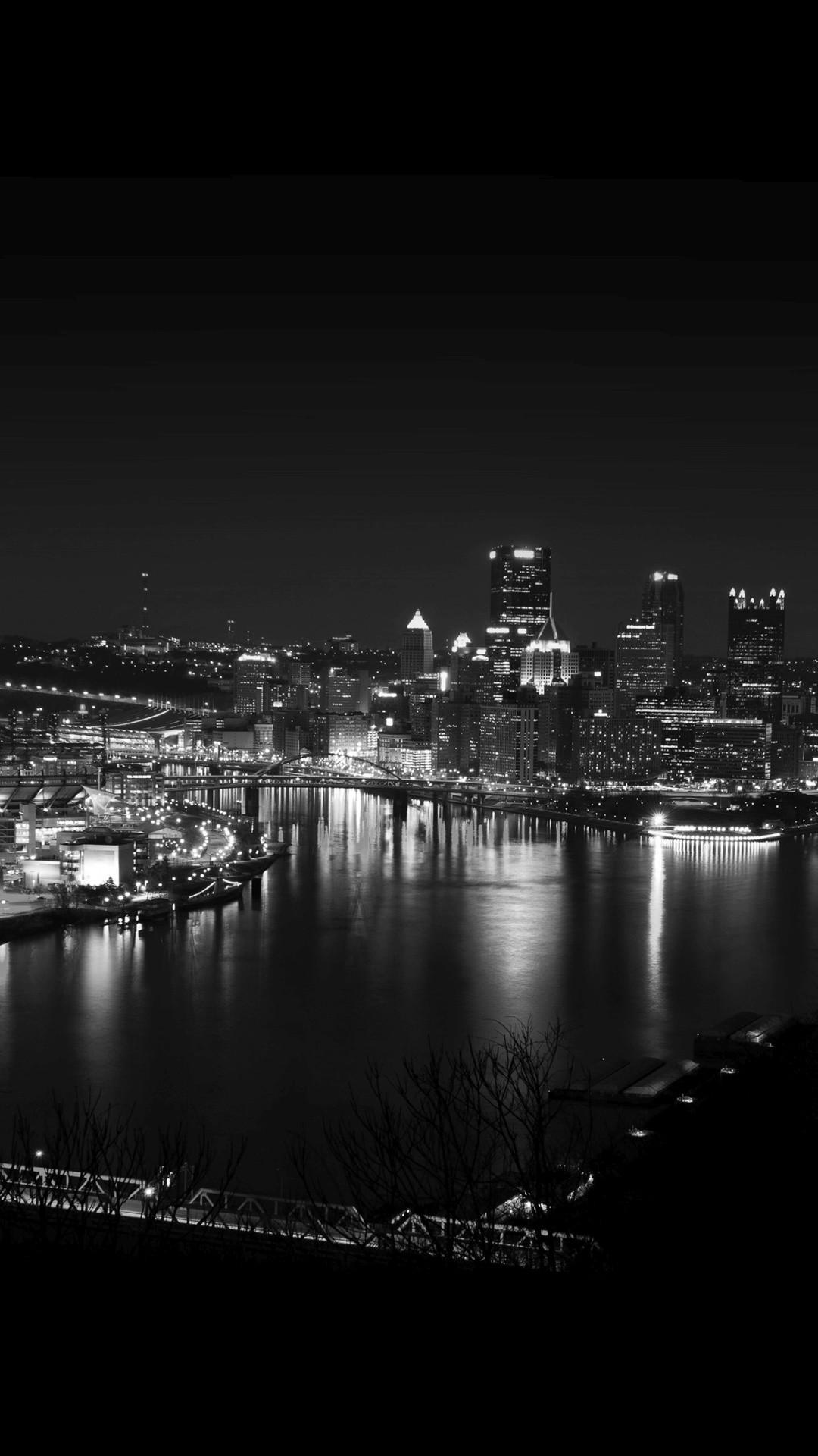Pittsburgh Skyline Lake City Night iPhone 6+ HD Wallpaper …