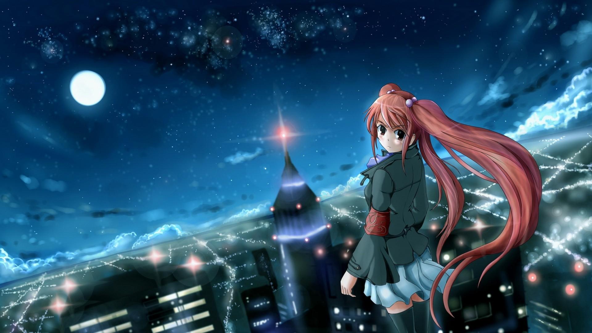 Wallpaper anime, girl, city, night, wind