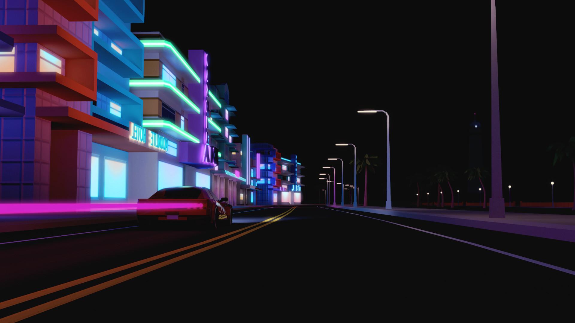 city, Urban, Street, Car, CGI, Render, Building, Night,