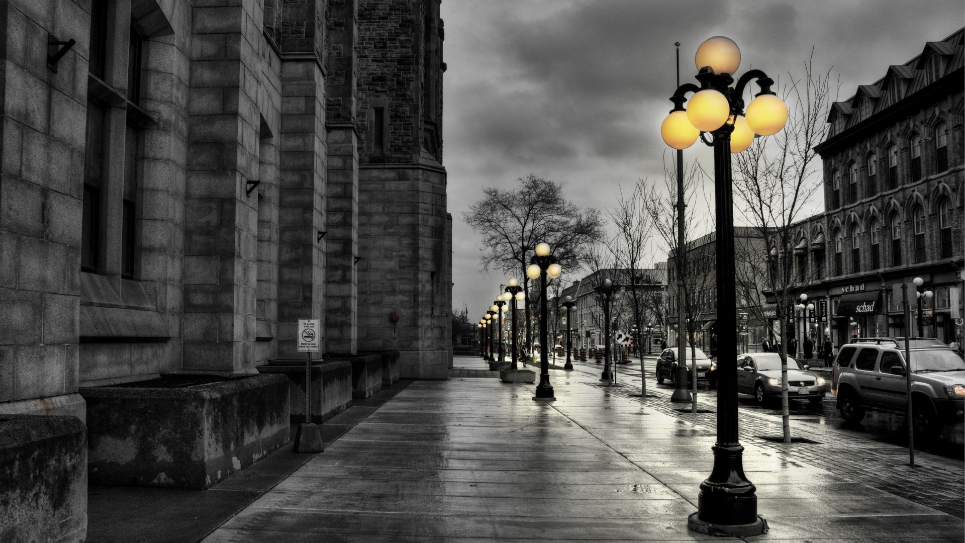 Wallpaper street, city, evening, black white, lights, buildings,  hdr