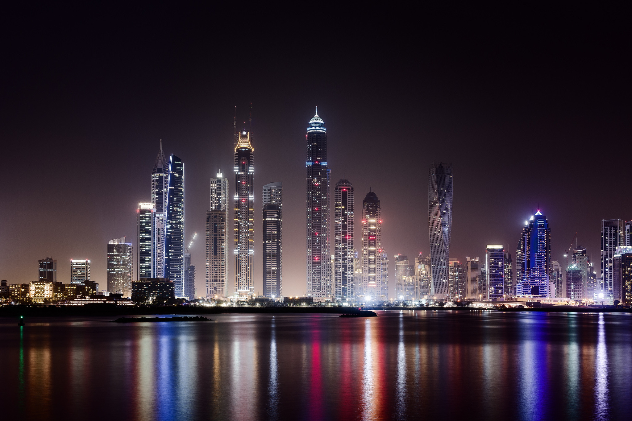 … city, Dubai, city night wallpaper,hd, skyscraper, lights