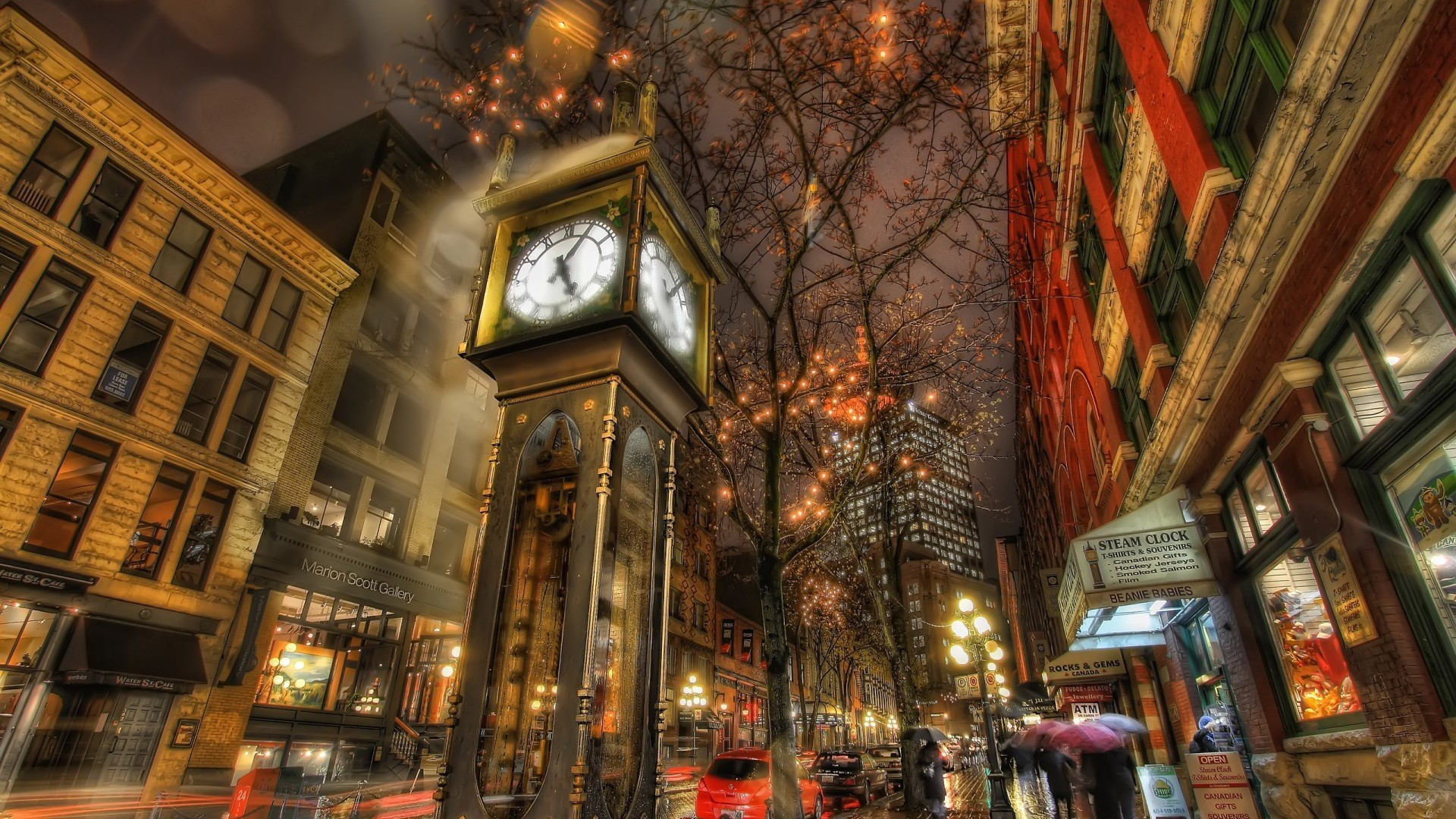 Wallpaper city, street, night, watch, walk, hdr