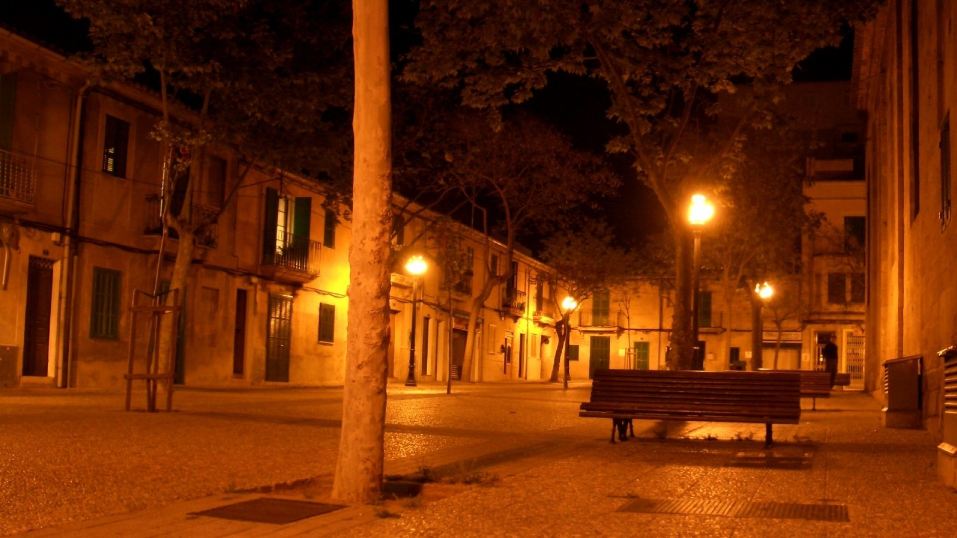 Wallpaper street, city, night light, lamps, bench